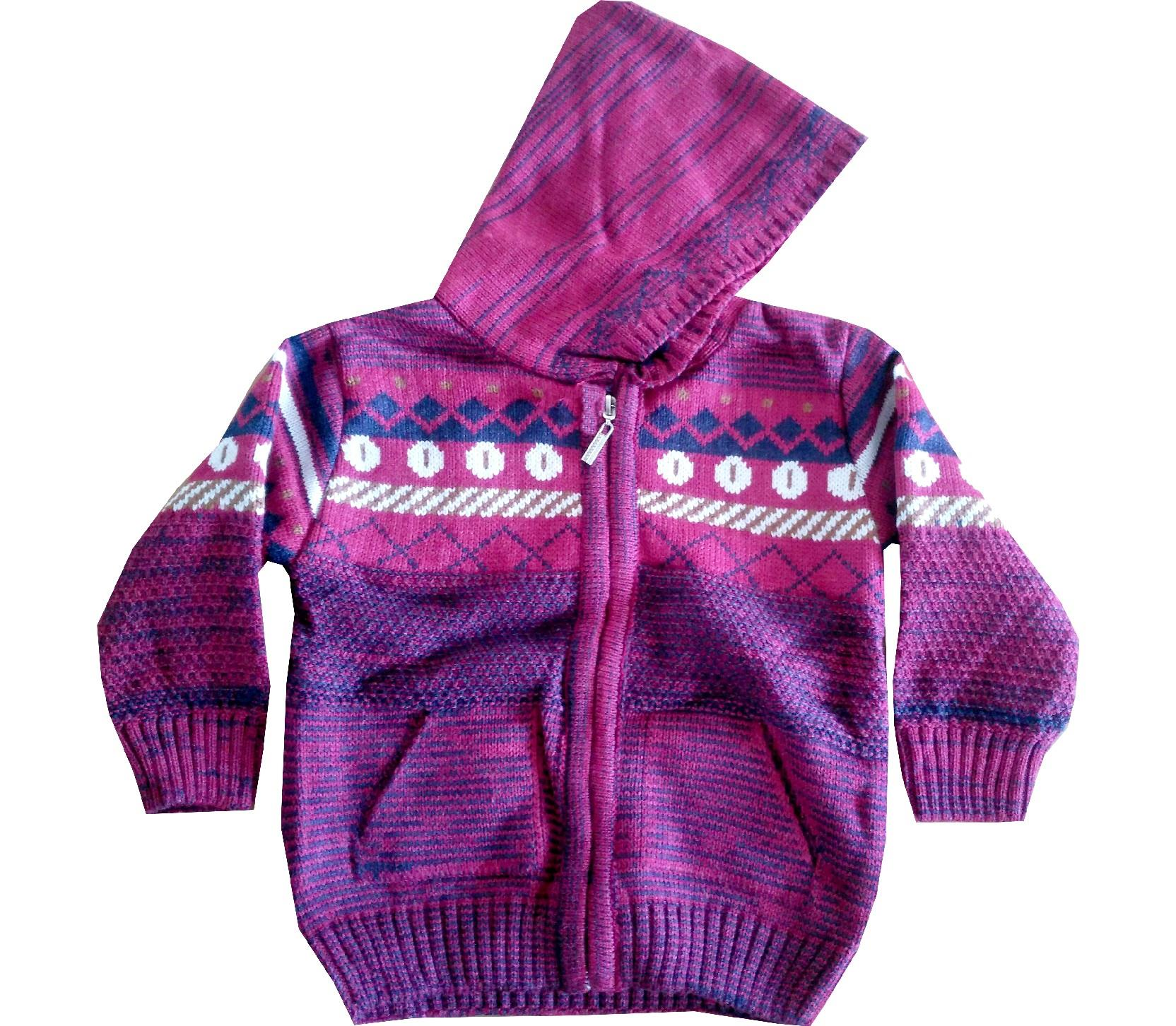 Wholesale hooded embroidery zip fastening sweater for boy (1-2-3 age)