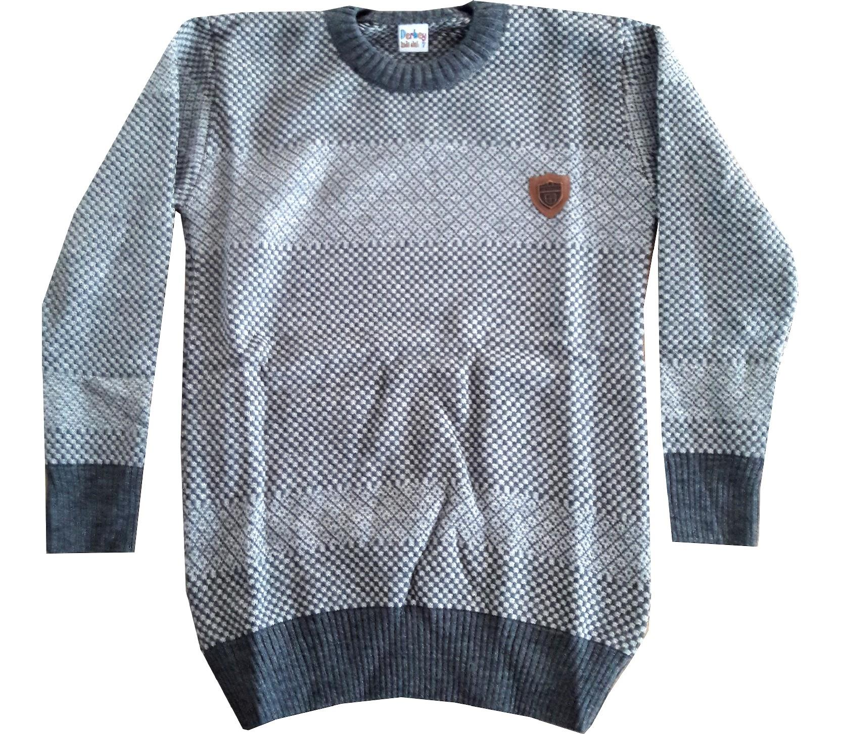 Wholesale chequered embroidery sweater for boy (10-12 month)