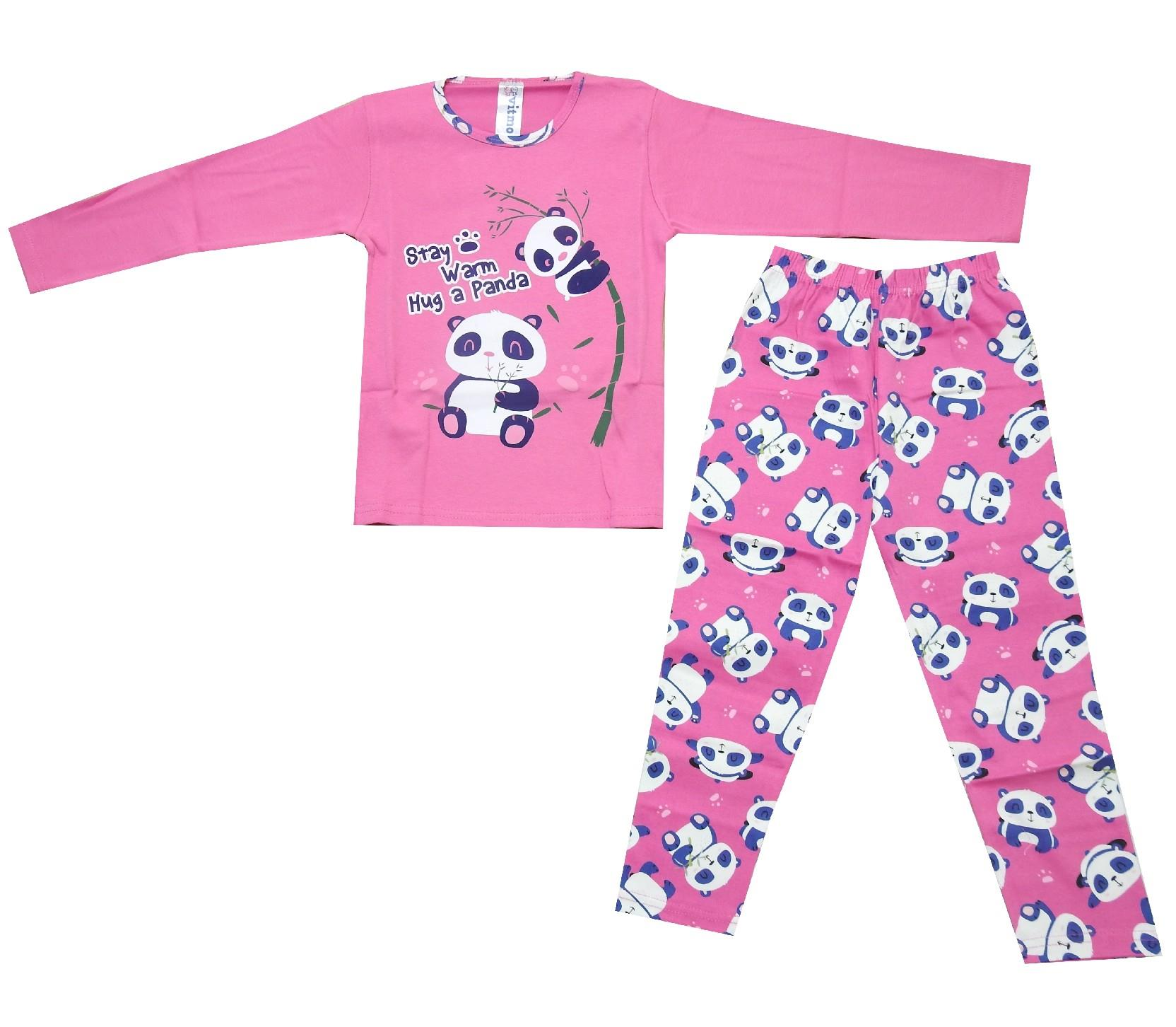5096 Wholesale panda printed pyjamas for baby girl (7-8-9 age)