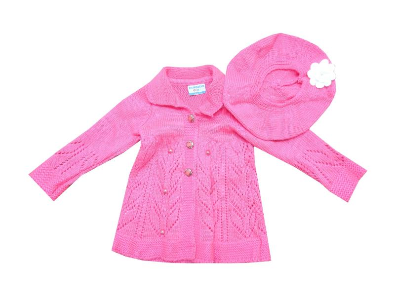 Wholesale knitted cardigan and beanie set for girl (3-5-7 age)