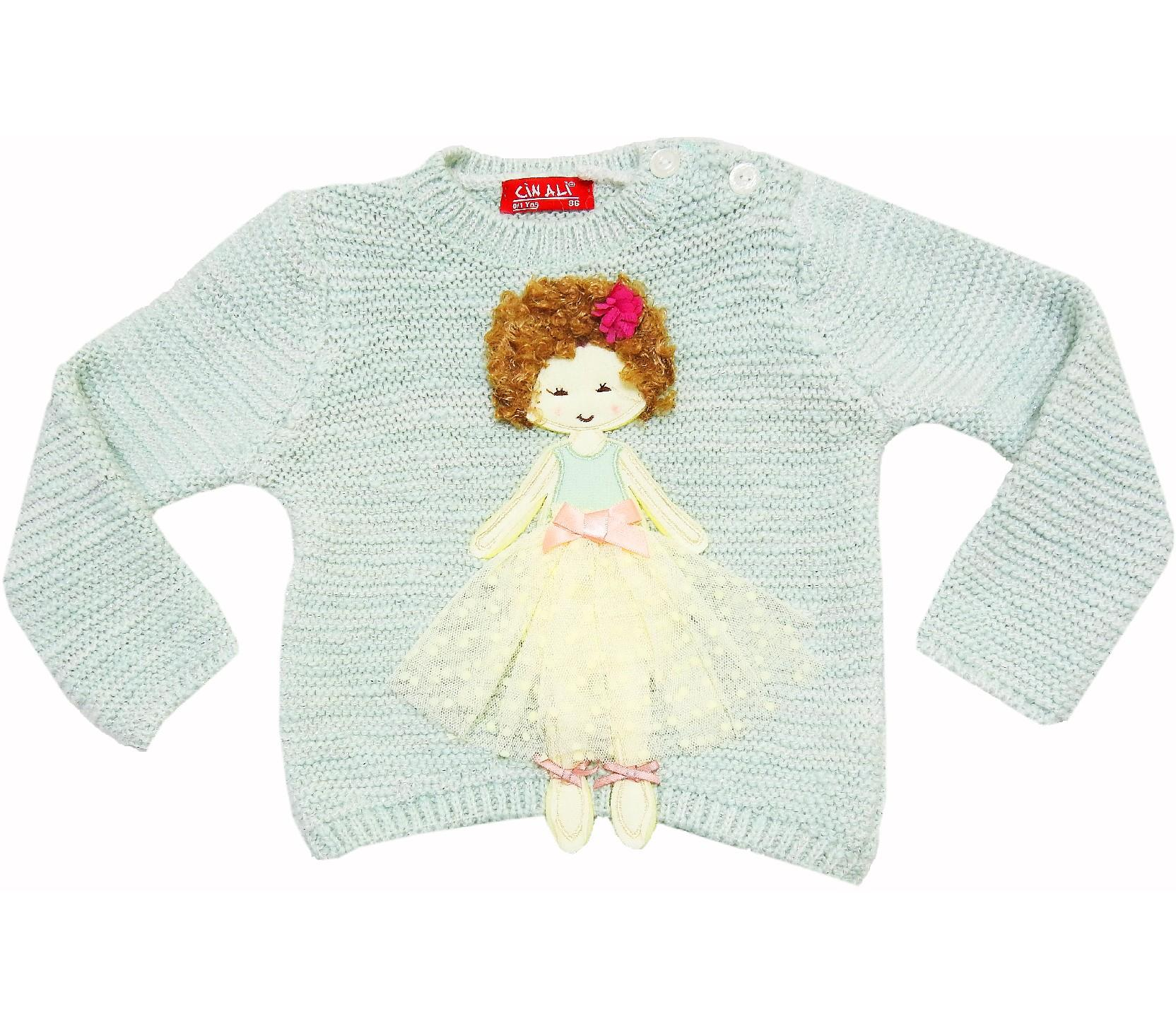 WHOLESALE GIRL DOLL APPLIQUE DESIGN SWEATER PULLOVER FOR GIRL/ BABY KIDS (1-2-3 AGE)