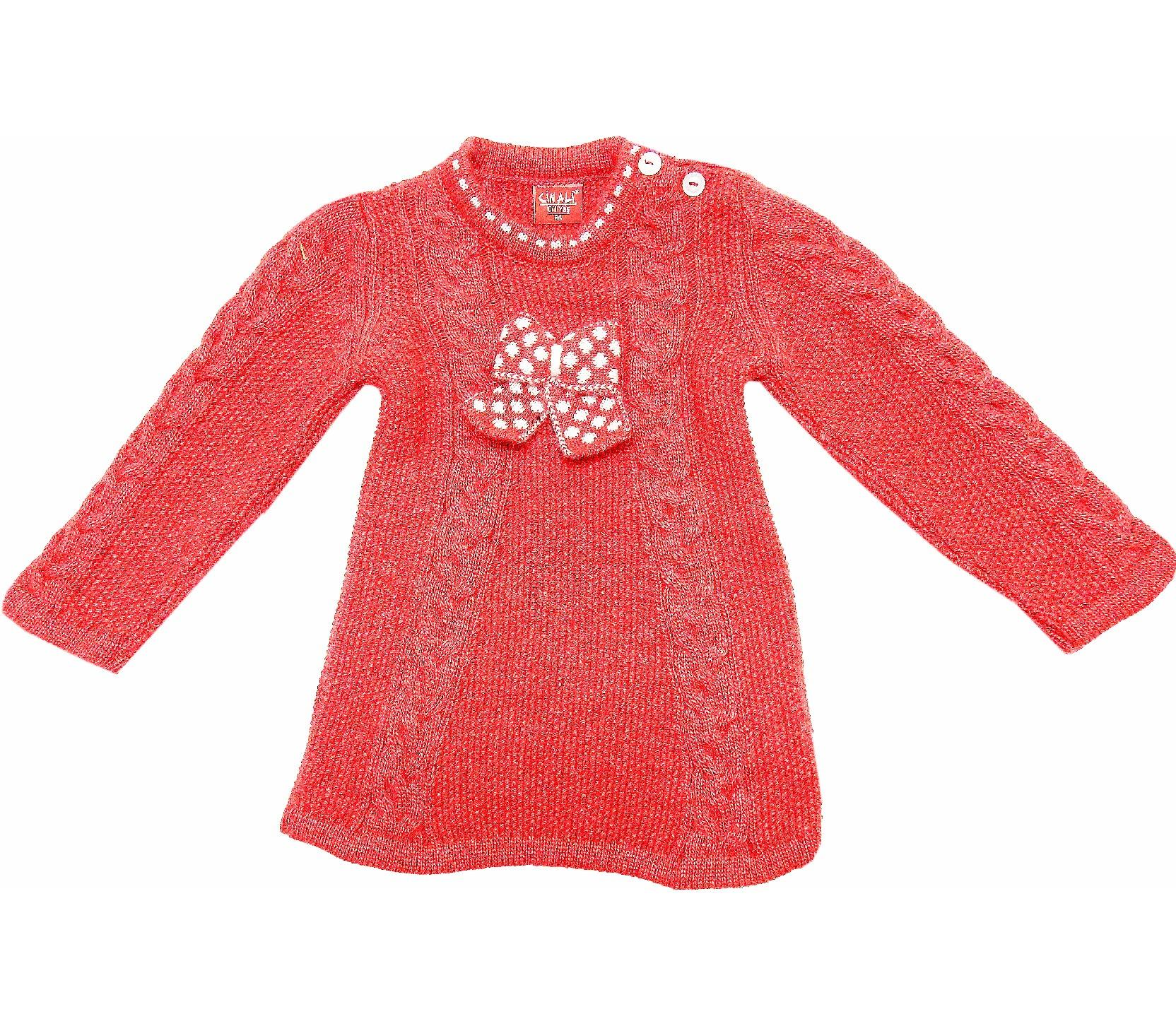 WHOLESALE RIBBON APPLIQUE KNITTED DESIGN TUNIC SWEATER FOR GIRL/BABY AND KIDS (1-2-3 AGE)