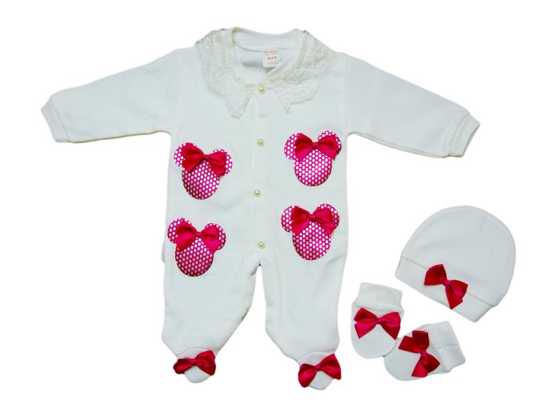 907 wholesale baby rompers long sleeve+caps+mittens, for girls 3-6-9 months