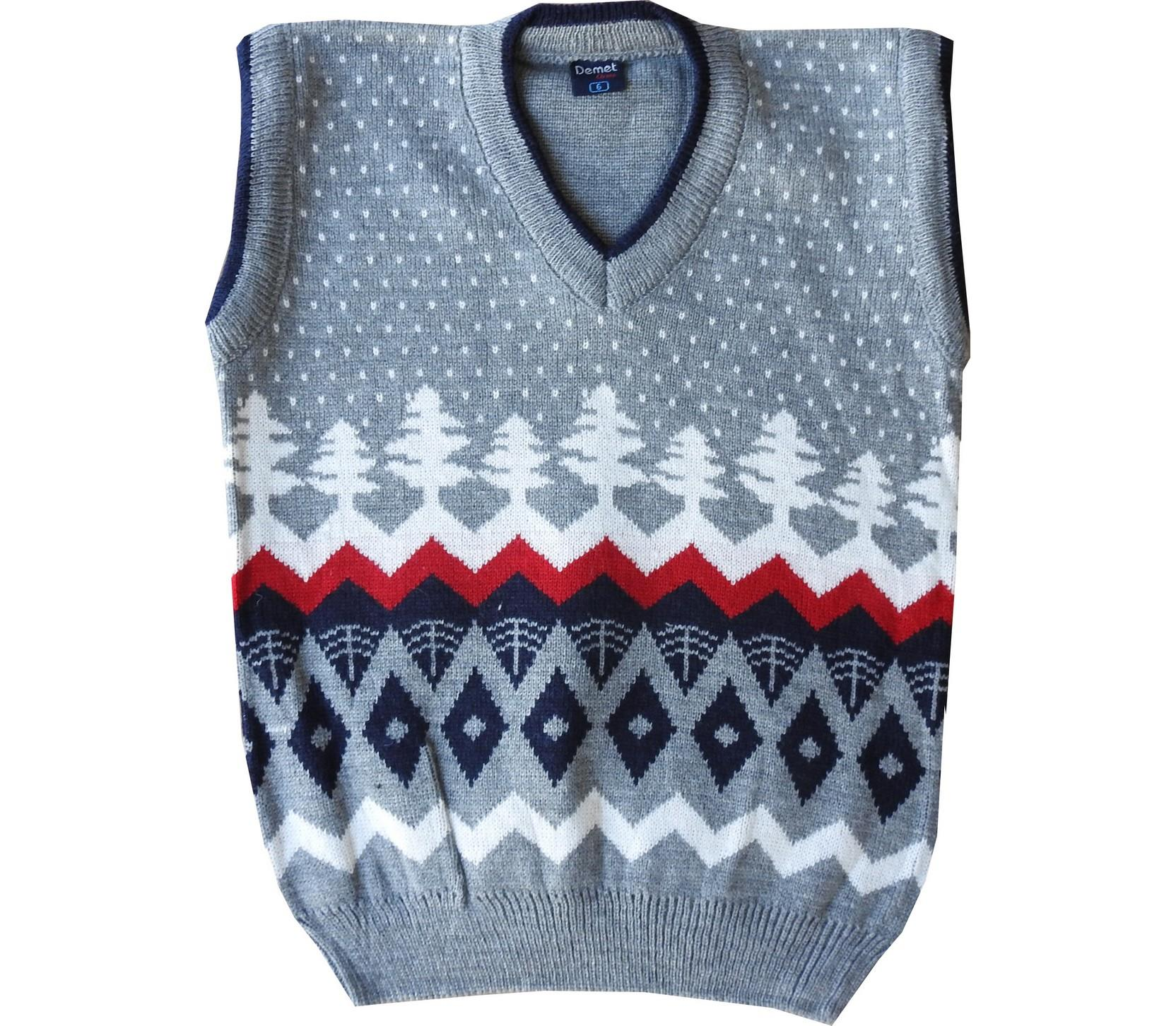 Wholesale pine tree embroidery sleevless sweater for boy (5-7-9 age)