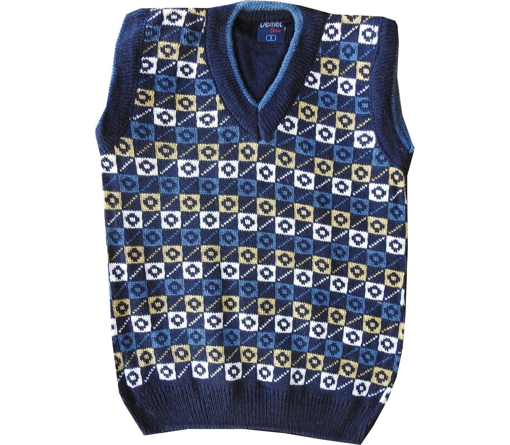 Wholesale chequered embroidery sleeveless sweater for boy (1-3-5 age)