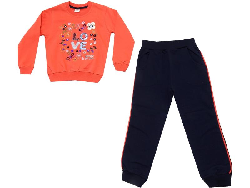 WHOLESALE FLOVER & LOVE PRINT DESIGN SWEATSHIRT AND TROUSER FOR GIRL (5-6-7-8 AGE)