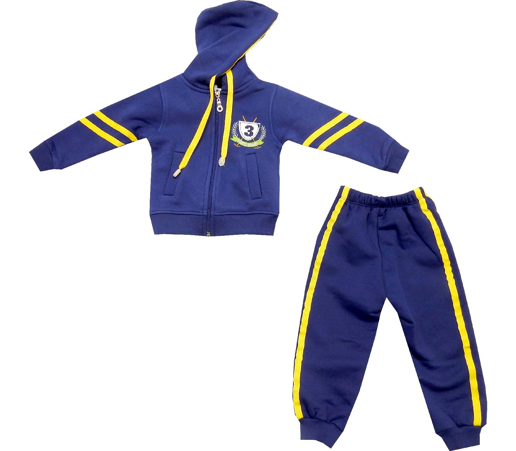 Wholesale hooded three-ply striped design tracksuit for boy (1-2-3-4 age)