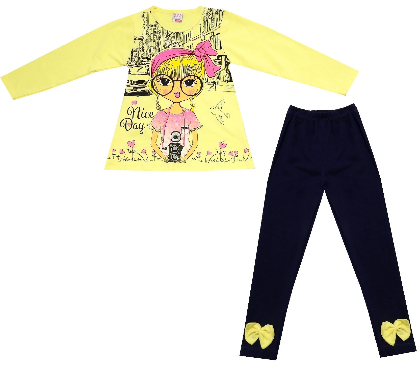 Wholesale girl printed long sleeve t-shirt and trouser double set for girl (3-4-5-6 age)