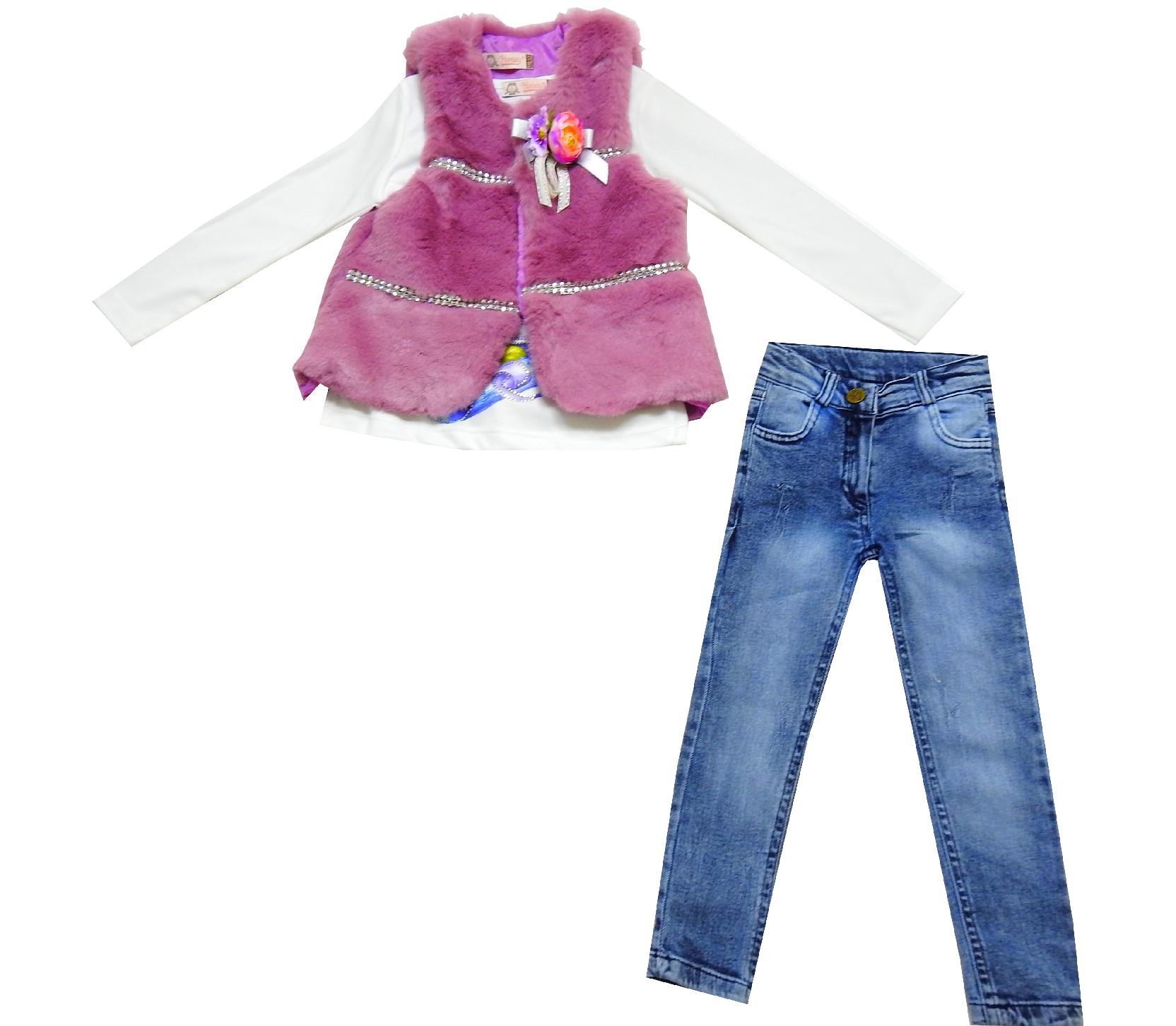 Wholesale plush vest, long sleeve t-shirt and jeans pant triple set for girl (2-3-4-5 age)