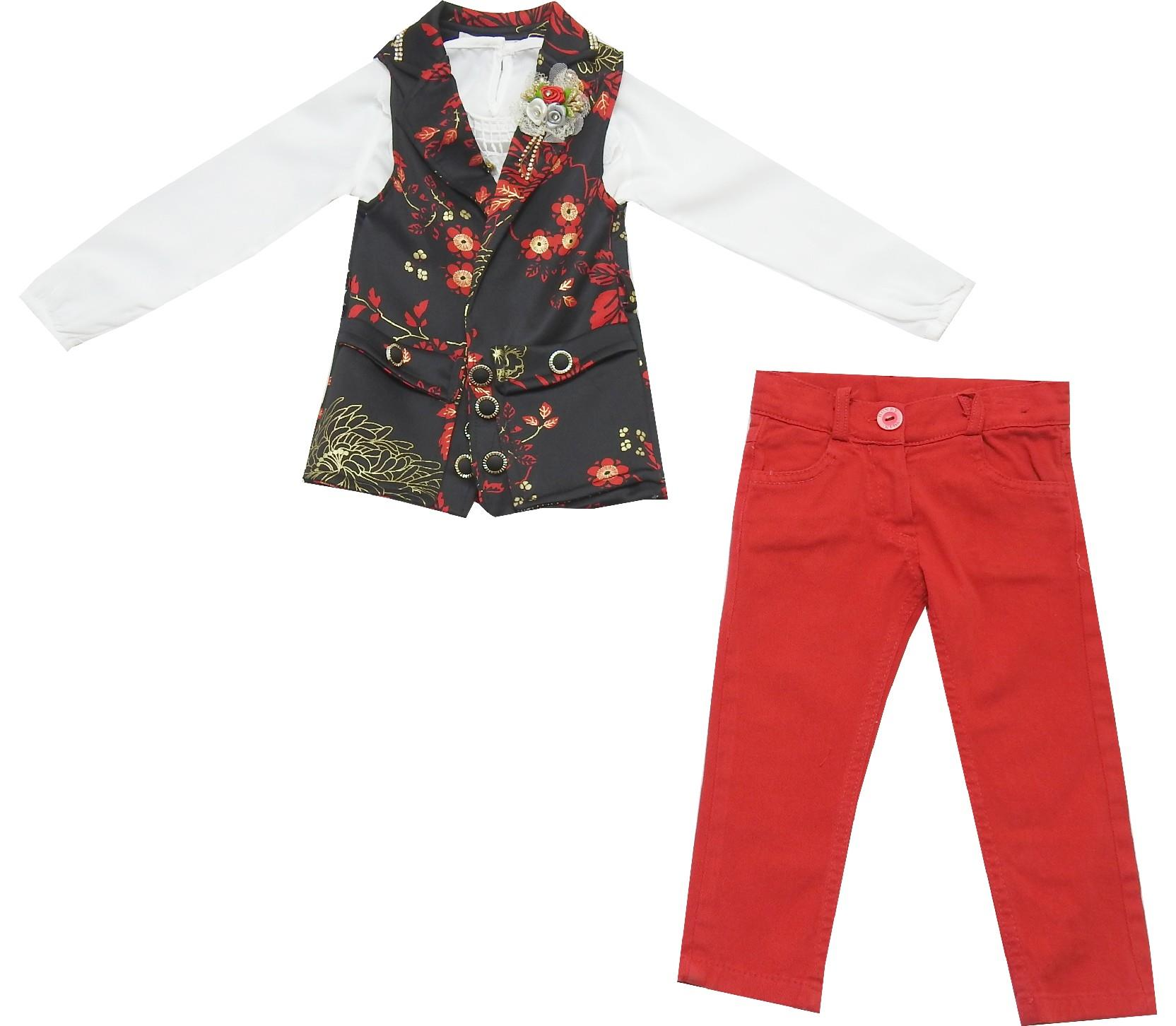 Wholesale flower embroidery vest, blouse and pant triple set for girl (2-3-4-5 age)