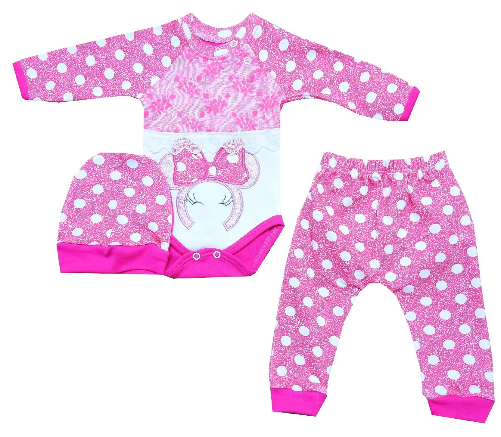 Wholesale spotty embroidery bodysuit, beanie and trouser triple set for baby girl (3-6-9 month)