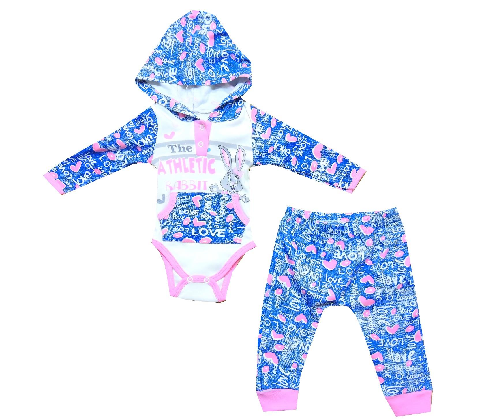 Wholesale athletic rabbit print hooded bodysuit and trouser double set for baby girl (3-6-9 month)