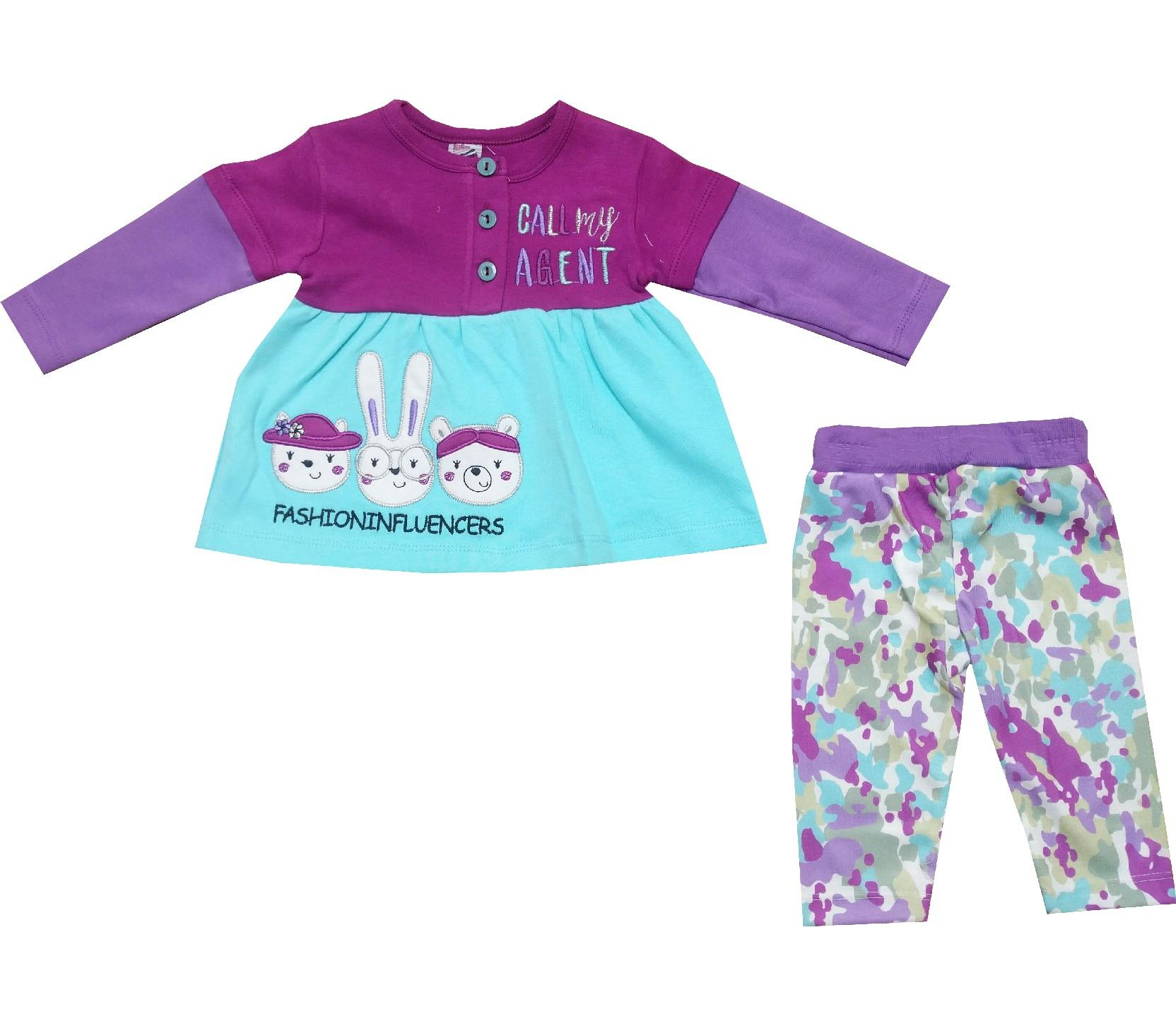 Wholesale ''call my agent'' print dress-sweat and trouser double set for girl (9-12-18-24 month)