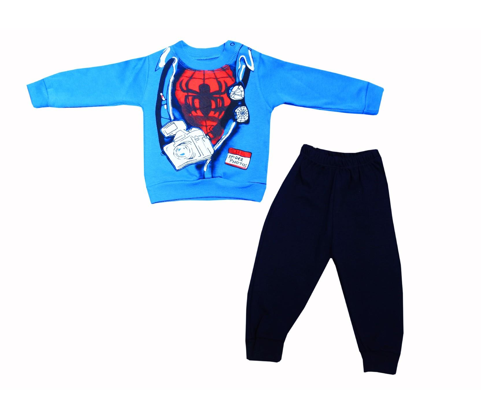 Wholesale spider photo print sweat and trouser double set tracksuit for boy (1-2-3 age)
