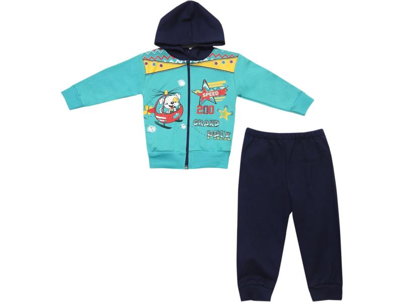 724 Wholesale grand prix printed hooded top and trouser tracksuit set for boy (1-2-3 age)
