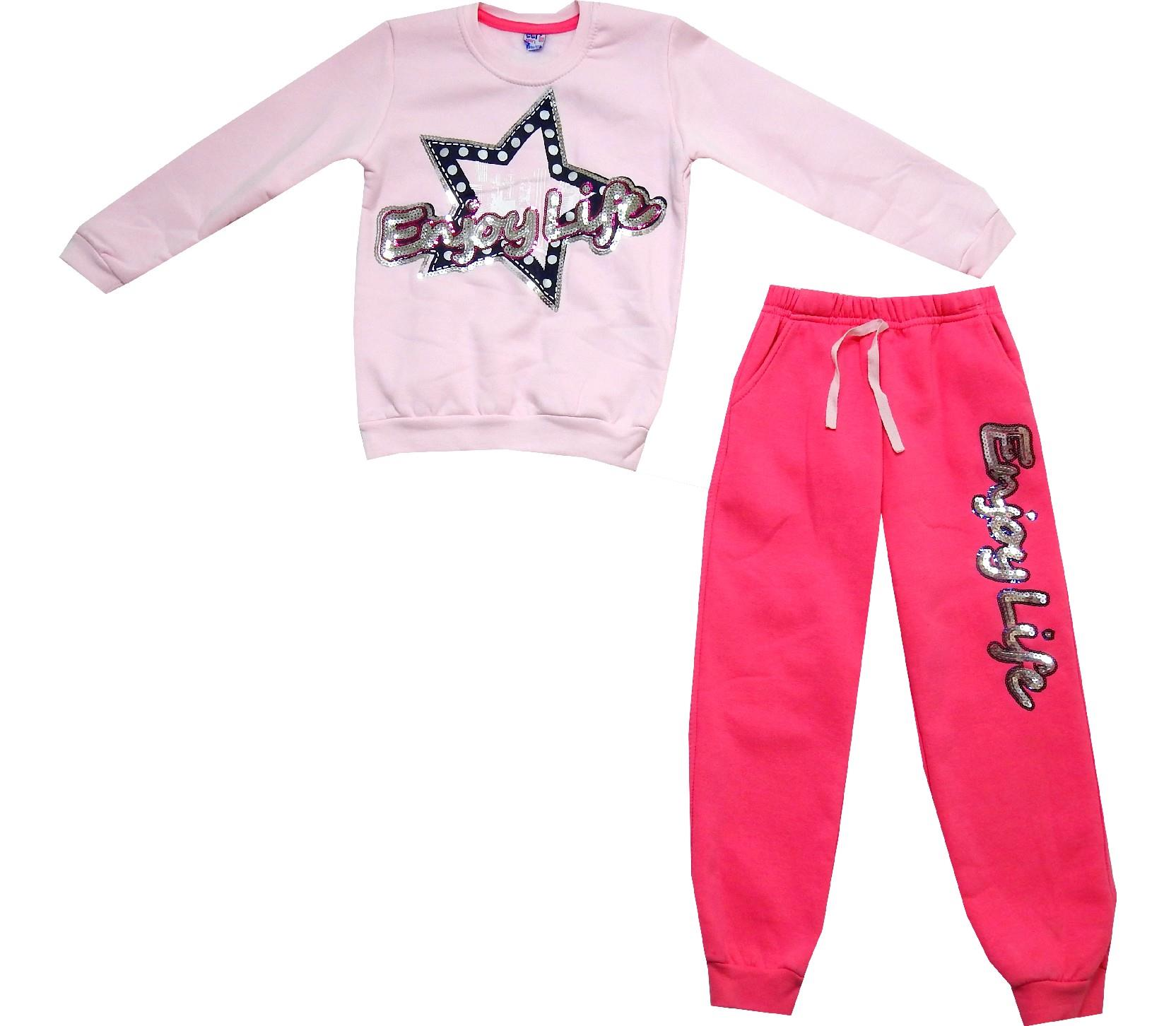 Wholesale enjoy life print long sleeve t-shirt and trouser double set for girl (6-7-8 age)