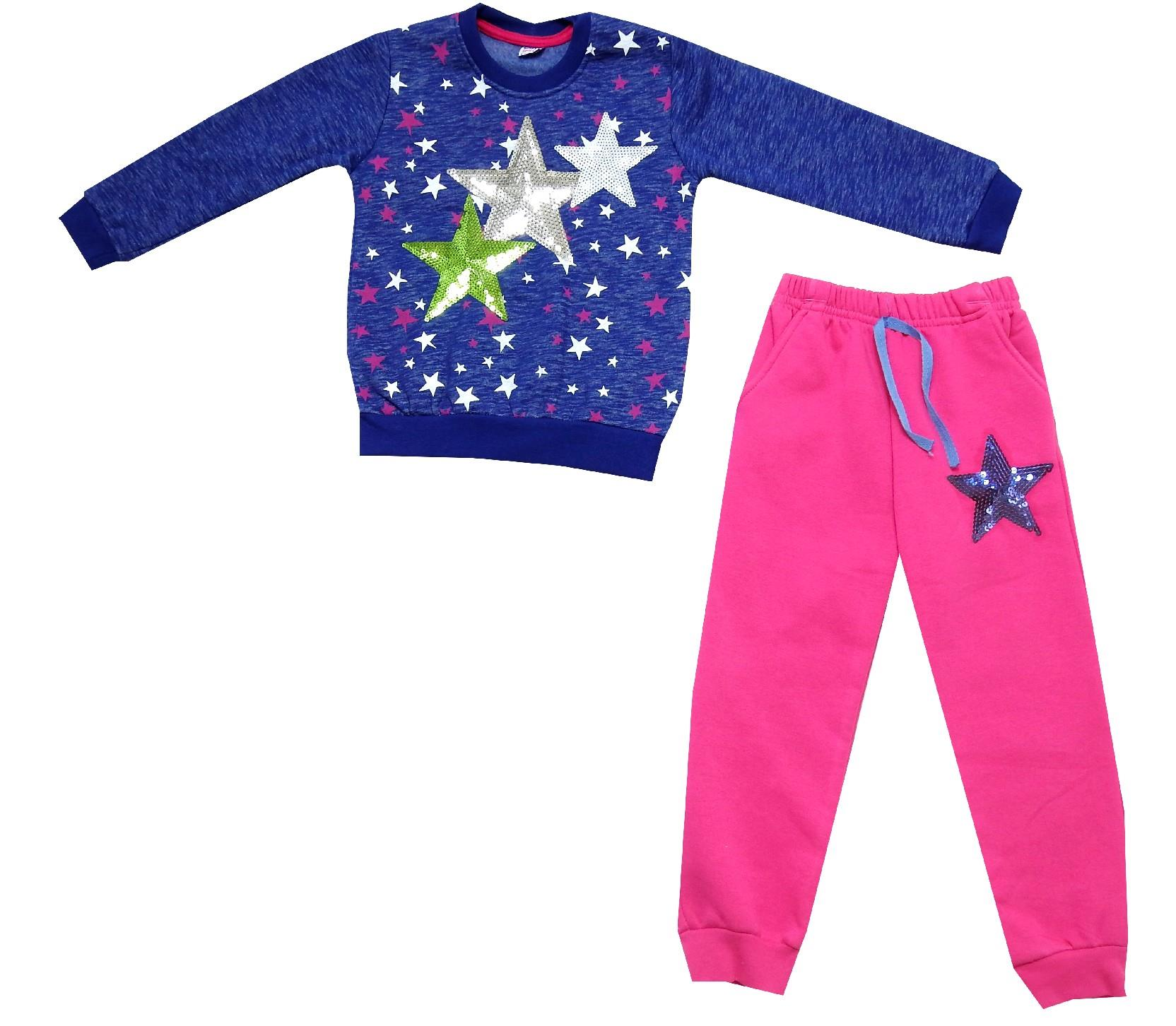 Wholesale canvas star designed sweat and trouser double set tracksuit for kids (6-7-8 age)