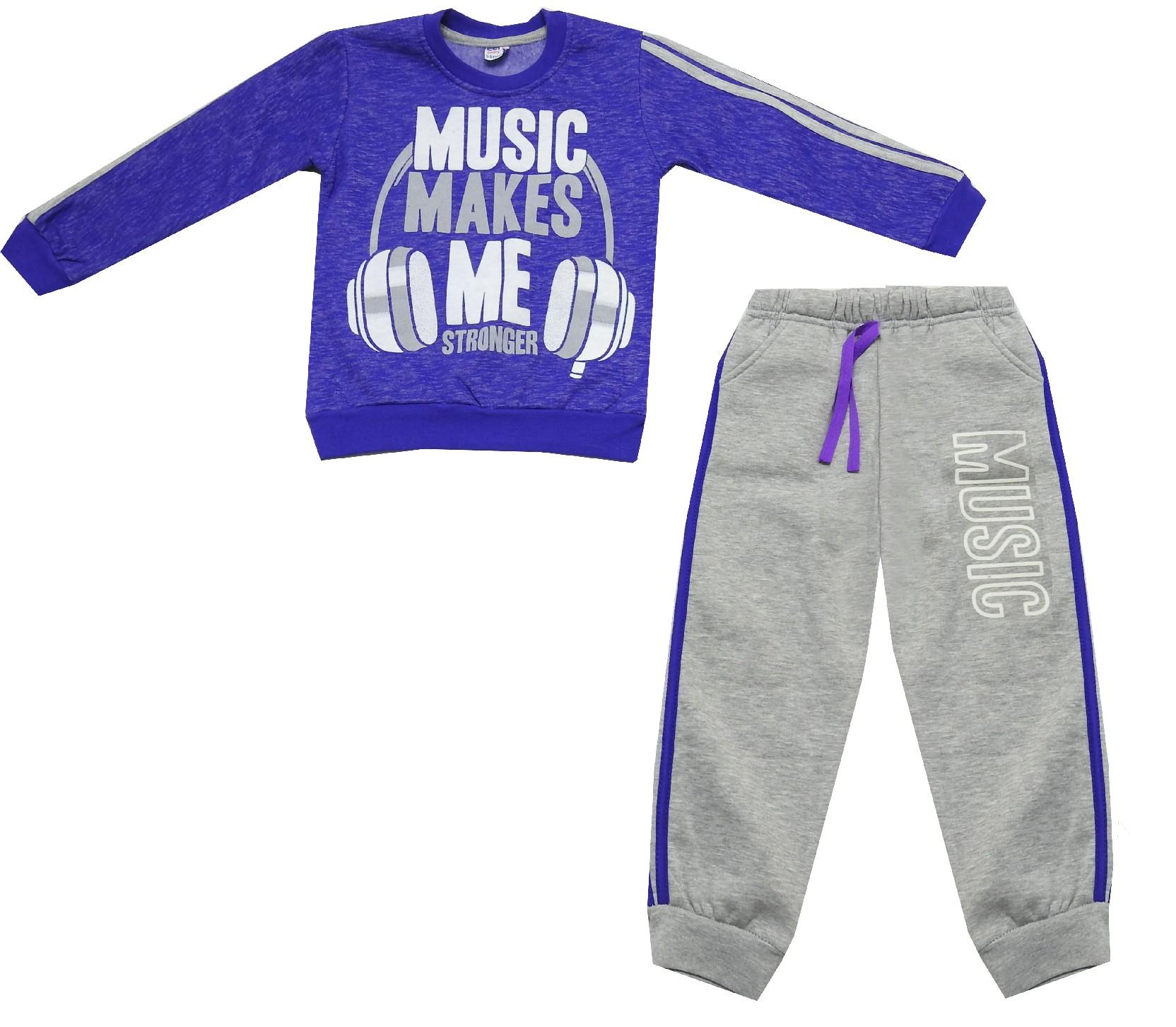 Wholesale ''music makes me stronger'' print sweatshirt and trouser double set suit for kids (6-7-8 age)