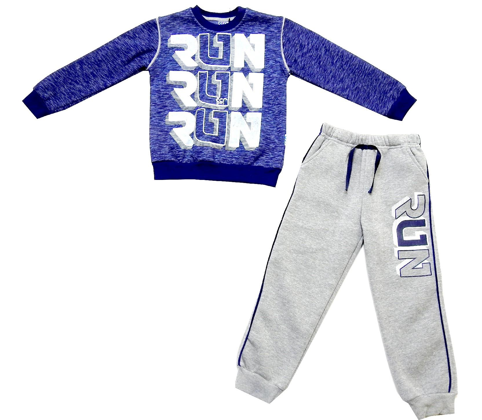 Wholesale RUN print long sleeve t-shirt and trouser double set for boy (6-7-8 age)