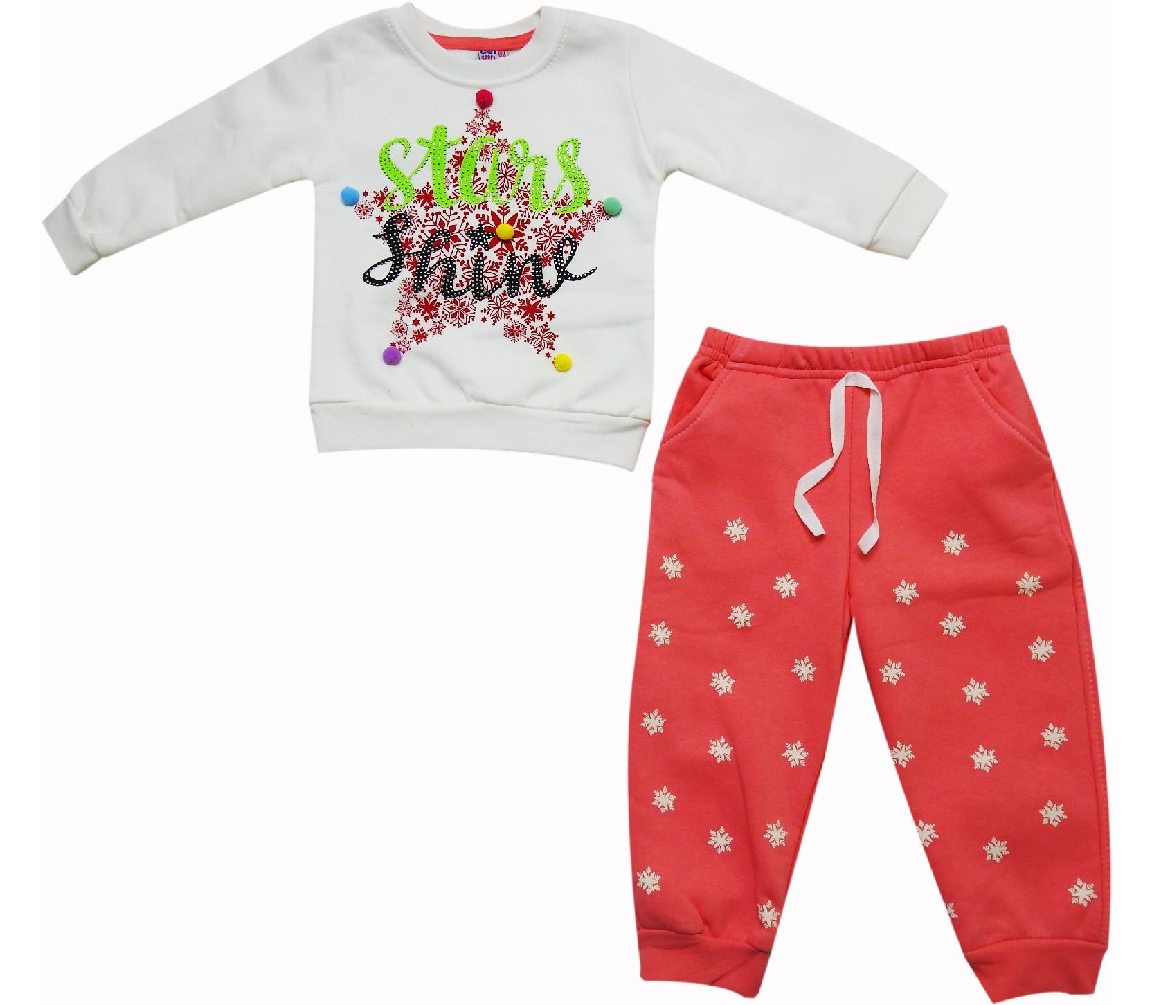 Wholesale star shine print long sleeve t-shirt and trouser double set for girl (2-3-4 age)