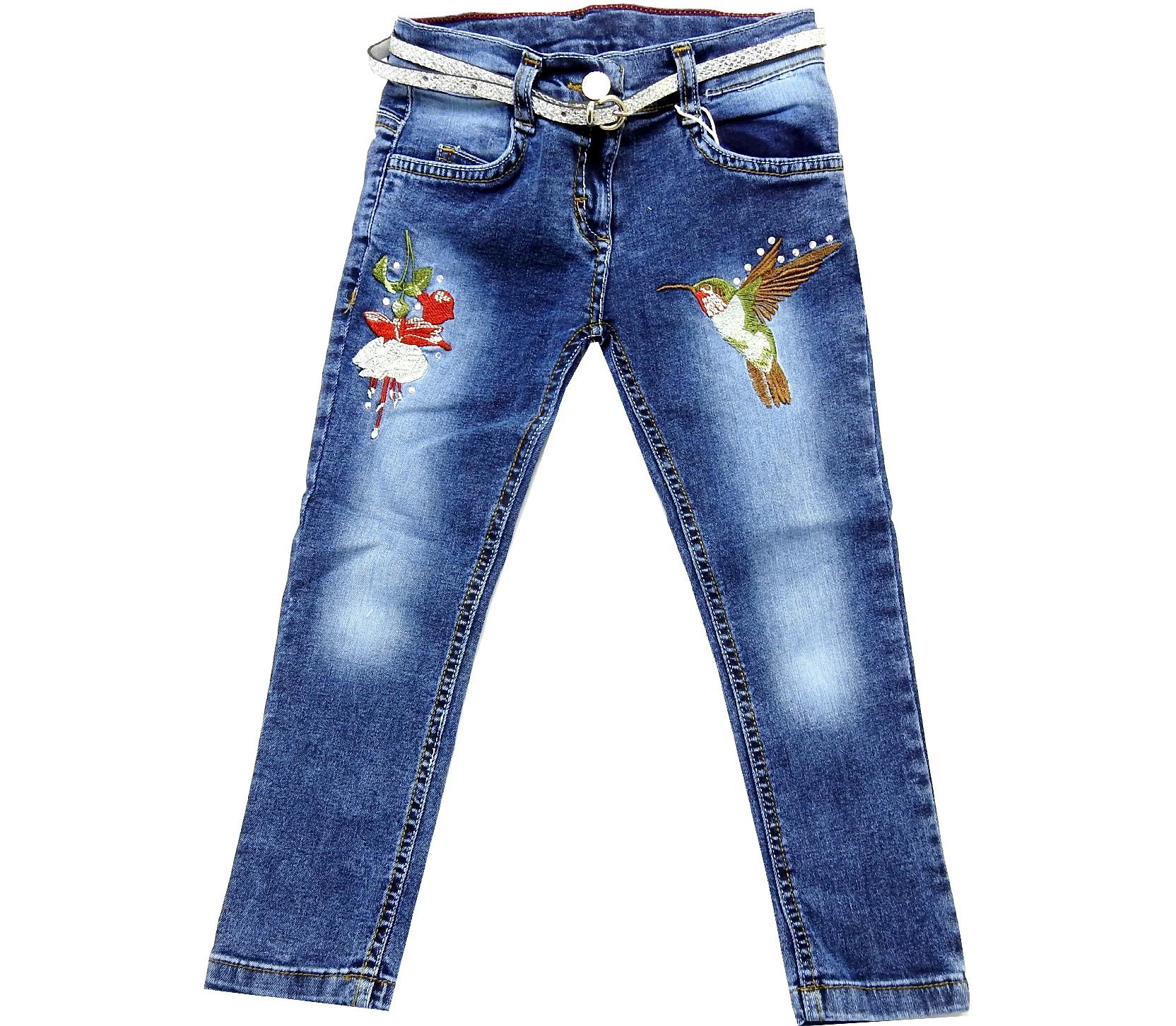Wholesale flower and bird sewed jeans pant for girl (2-3-4-5-6 age)
