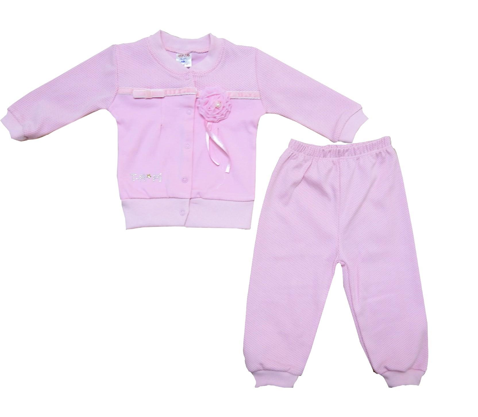 Wholesale flower applique sweat and trouser double set for girl (6-9-12 month)