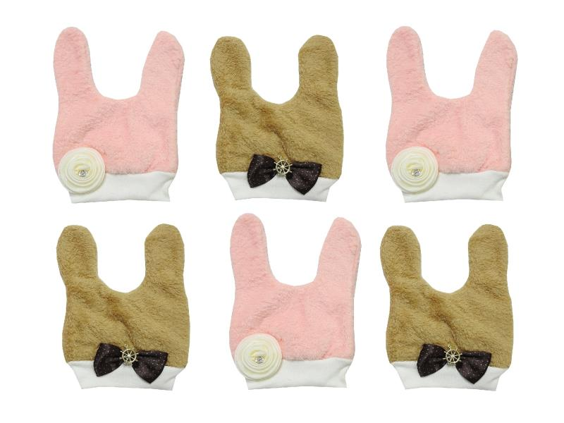 Wholesale bow & flower applique rope fastening beanie for baby 6 pieces in package