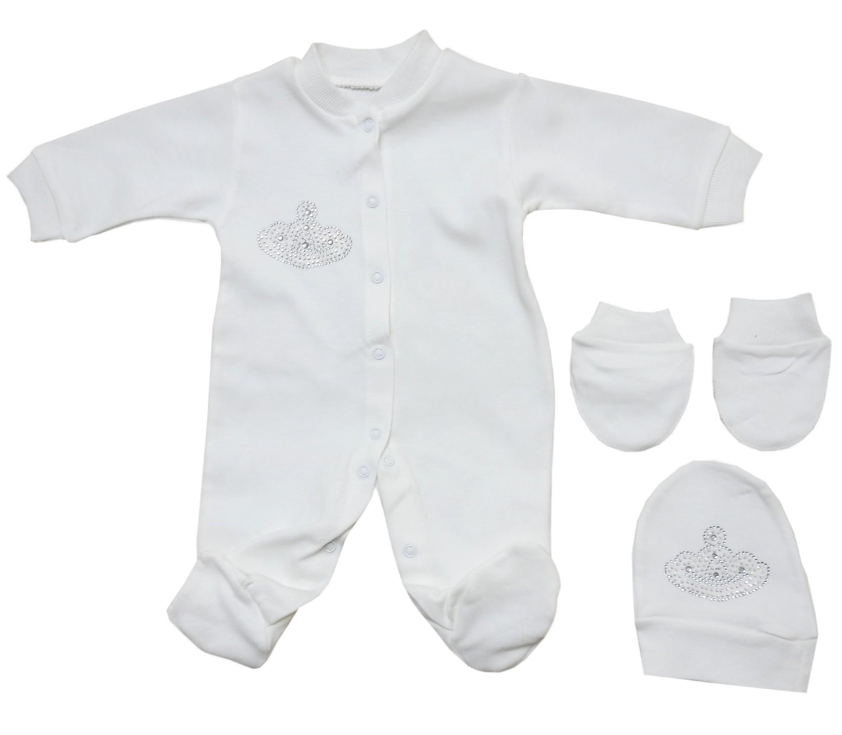 Wholesale tiara applique romper with gloves and beanie for girl (0-3 month)