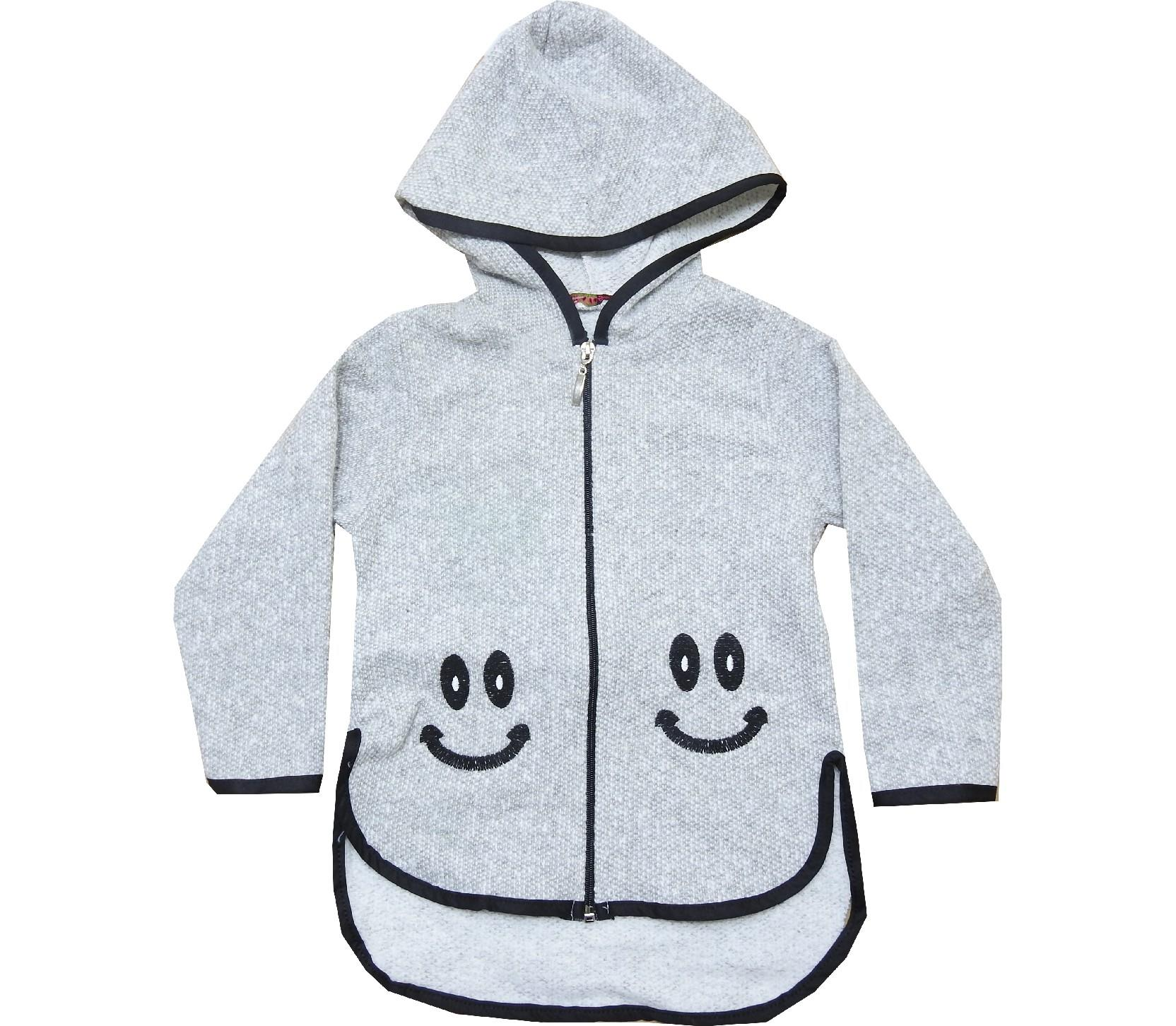 H.AK 116 Wholesale knitted smile printed hooded cardigan for children (5-6-7-8-9 age)