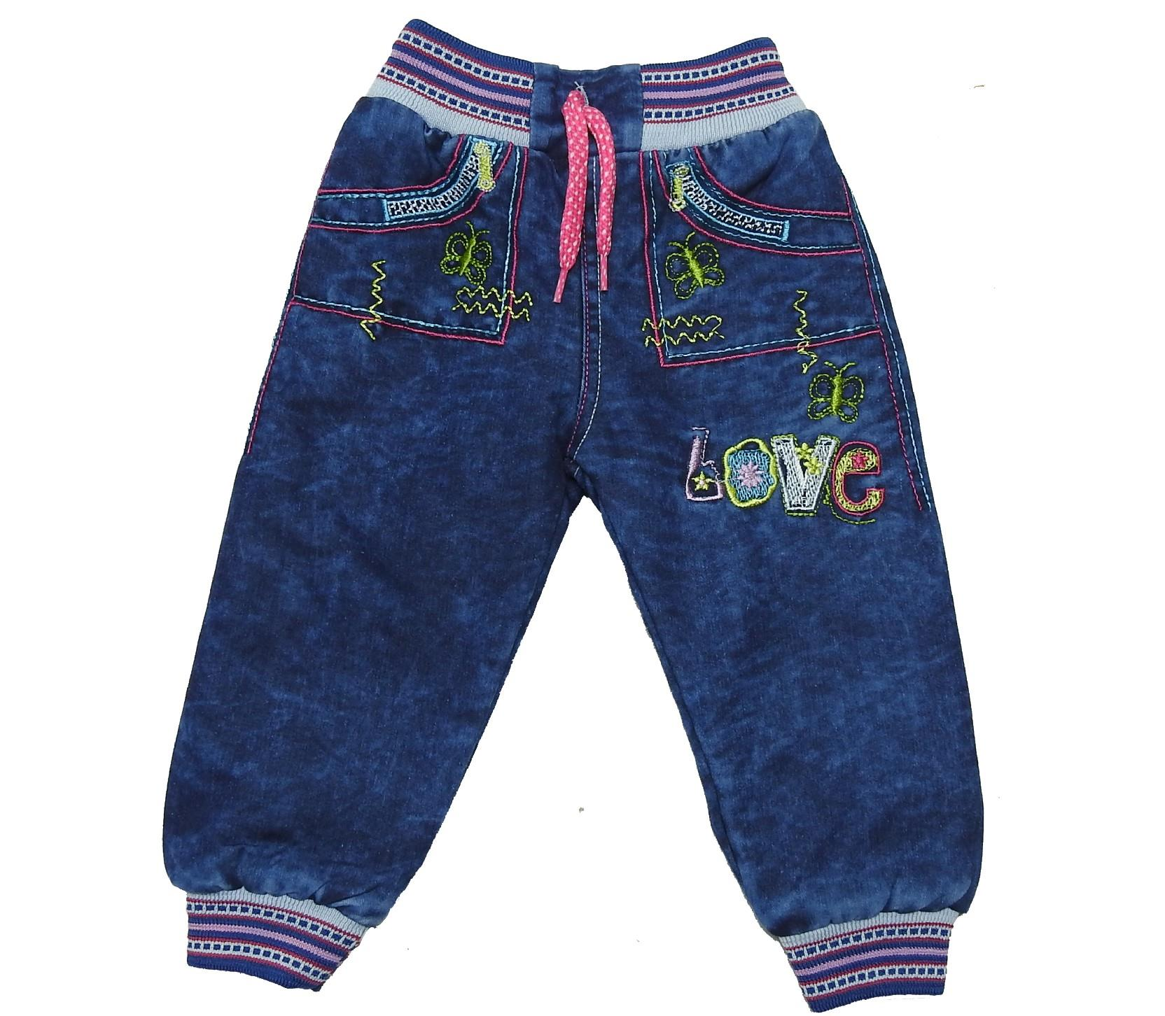 Wholesale love print jeans faux shearling pant for girl (1-2-3-4 age)