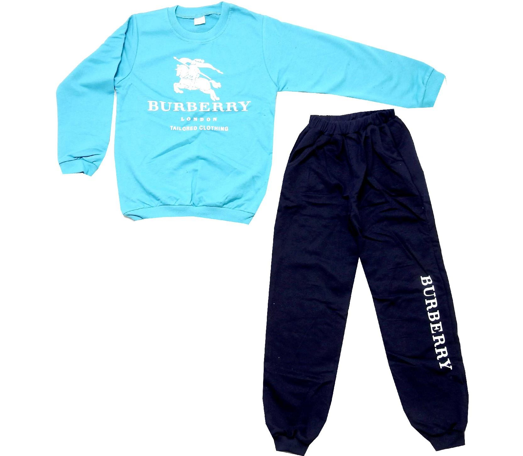 Wholesale burberry print sweatshirt and trouser tracksuit double set for boy (4-6-8-10 age)