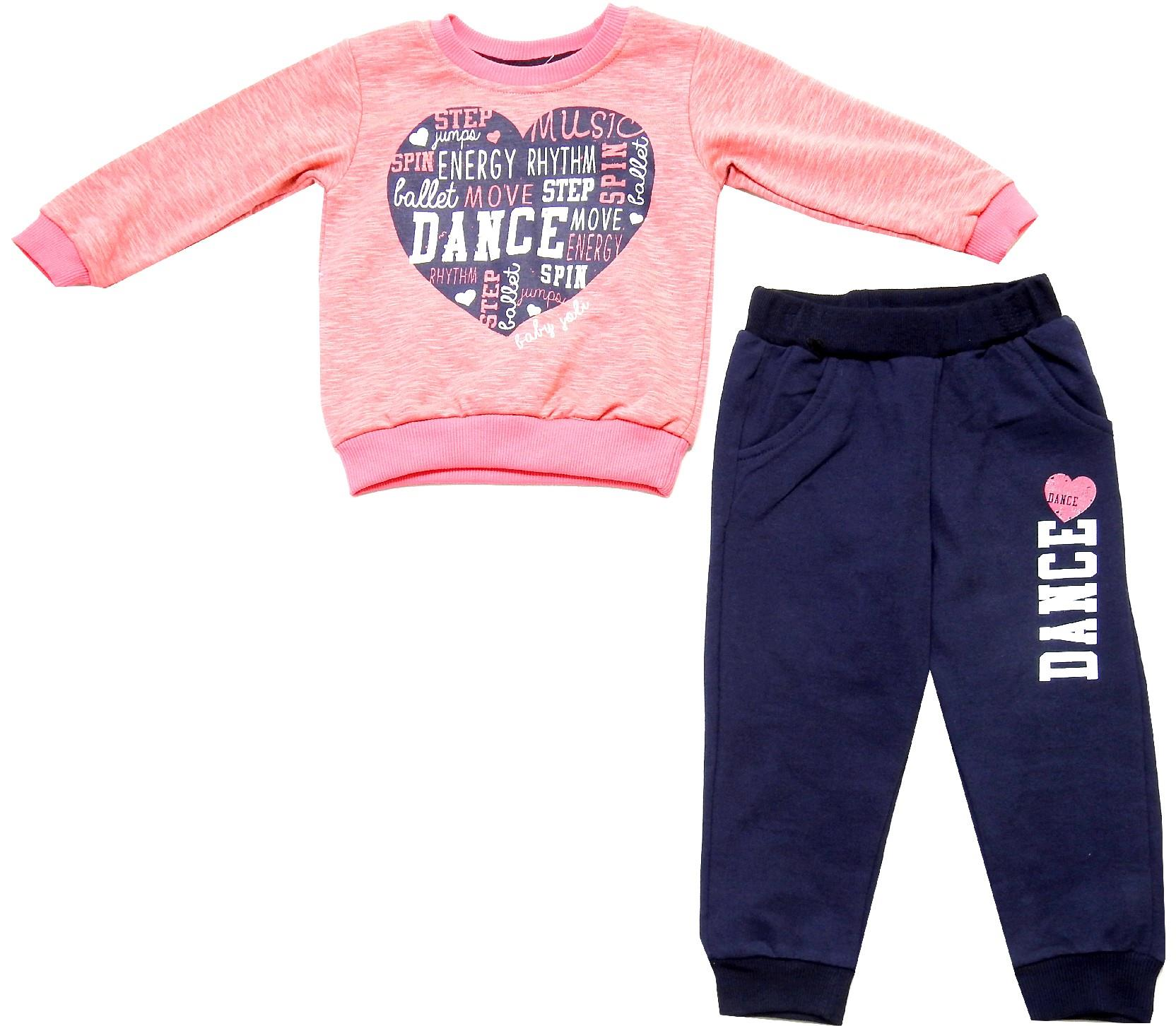 Wholesale heart print sweat and trouser double set tracksuit for girl (3-4-5-6 age)