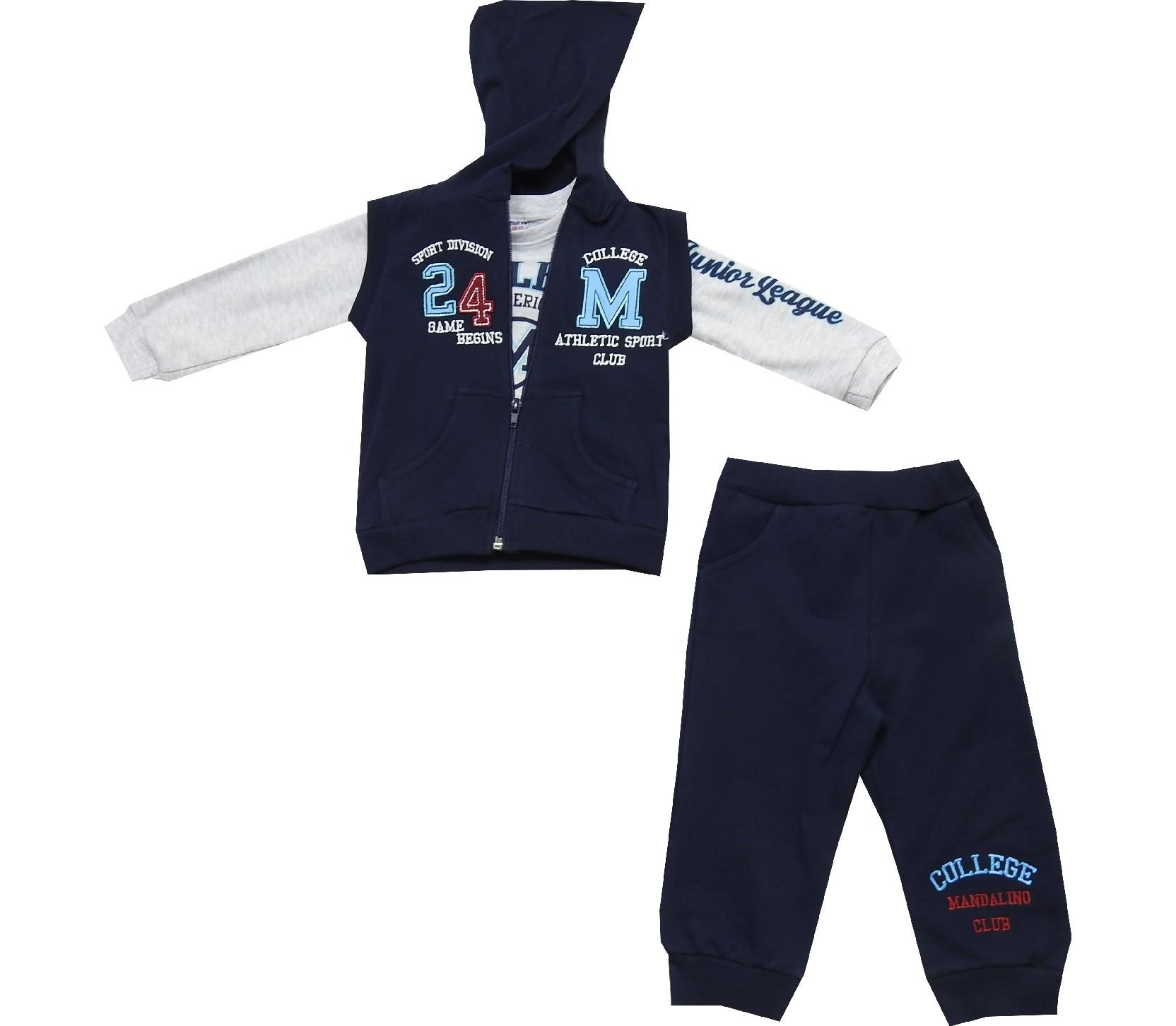 Wholesale hooded vest, long sleeve t-shirt and trouser for boy (12-18-24 month)