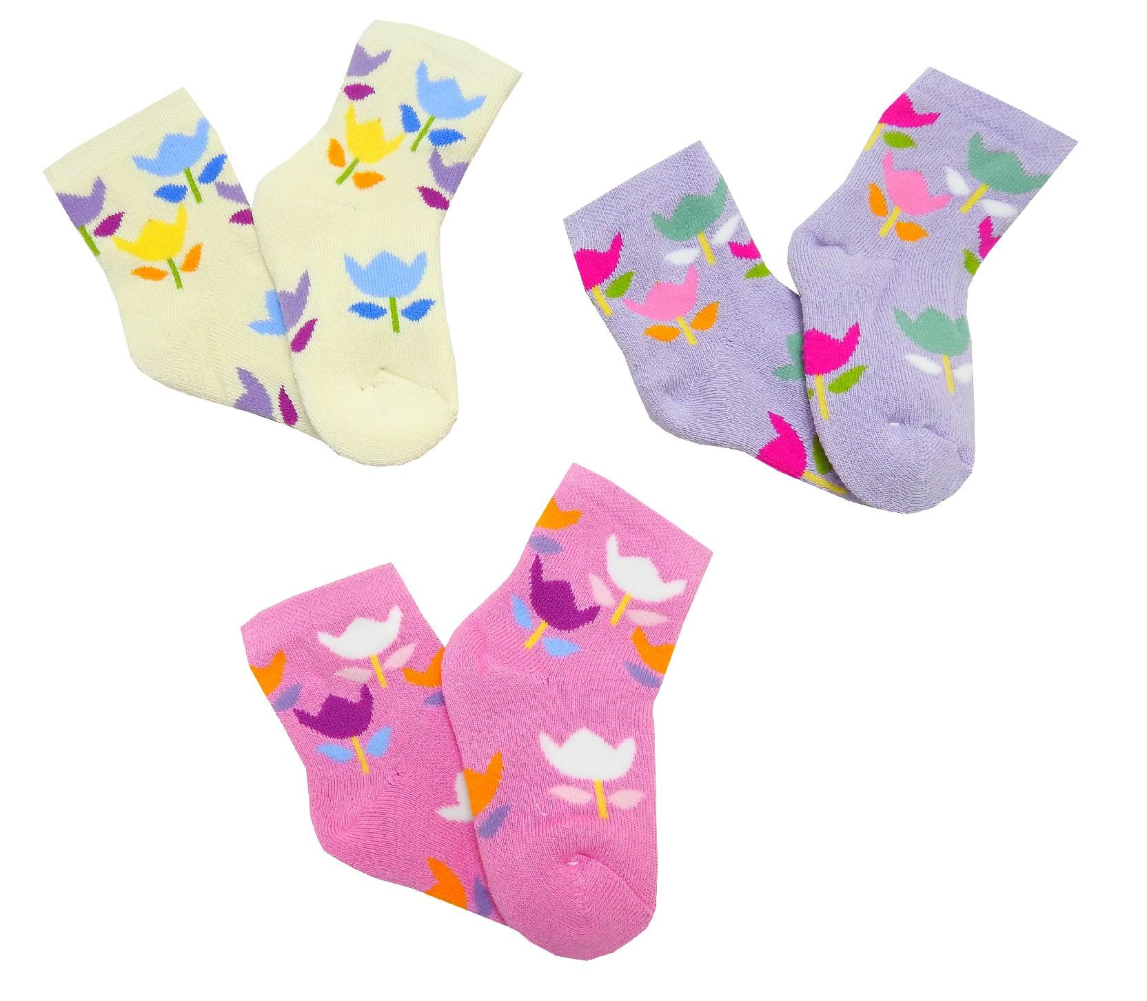 Wholesale flower printed socks for babies 12 pices in package