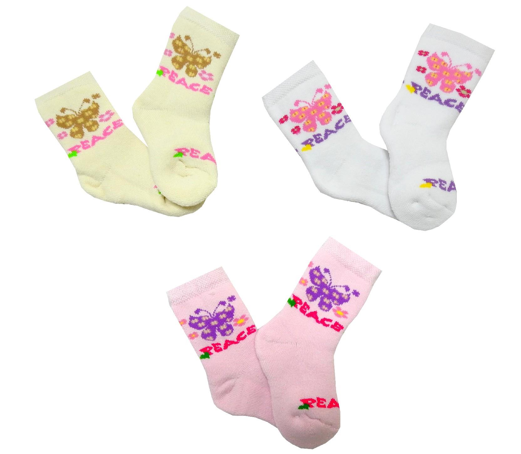 Wholesale butterfly sewed socks 12 pieces in package