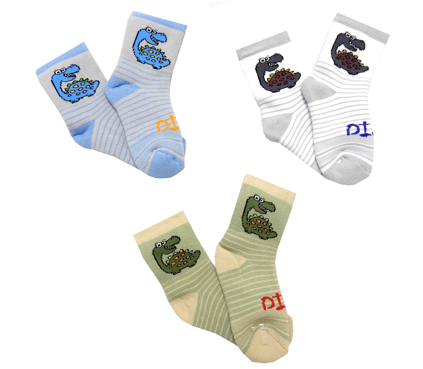 Wholesale dinosour sewed socks for baby 12 pieces in package