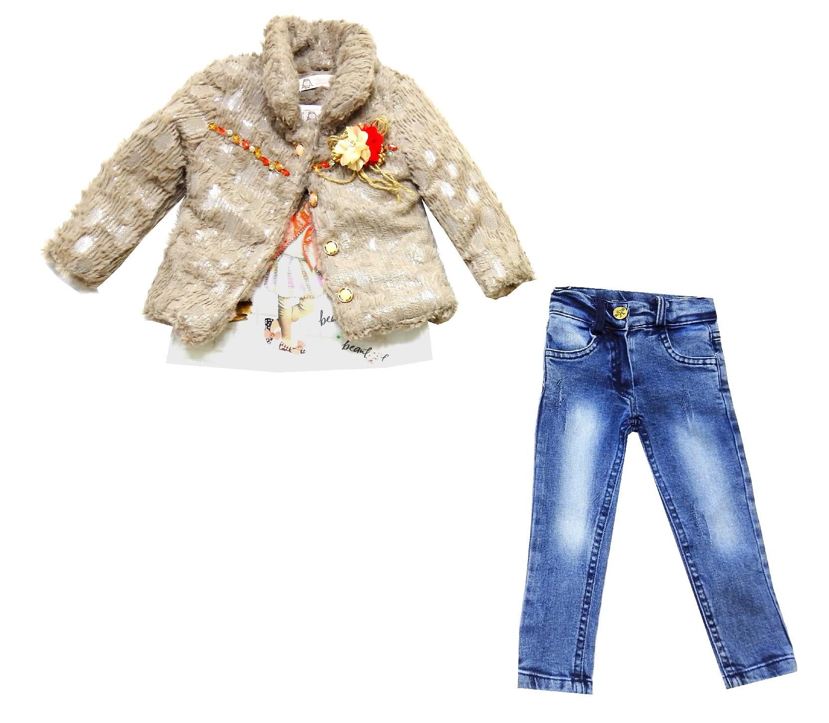 Wholesale faux shearling coat, long sleeve and jeans pant (2-3-4-5 age)