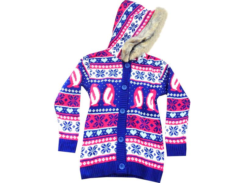 Wholesale penguin embroidery hoodie cardigan for kids (12-15 age)