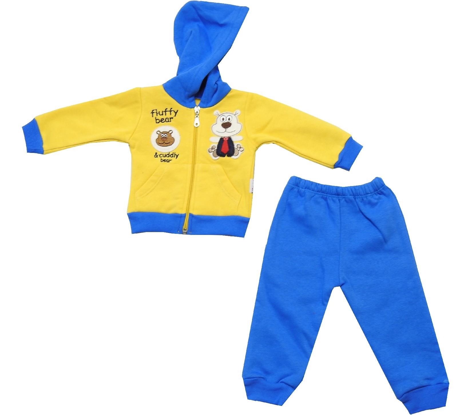 Wholesale assorted printed hooded sweatshirt and trouser double set tracksuit for babies (6-9-12 month)