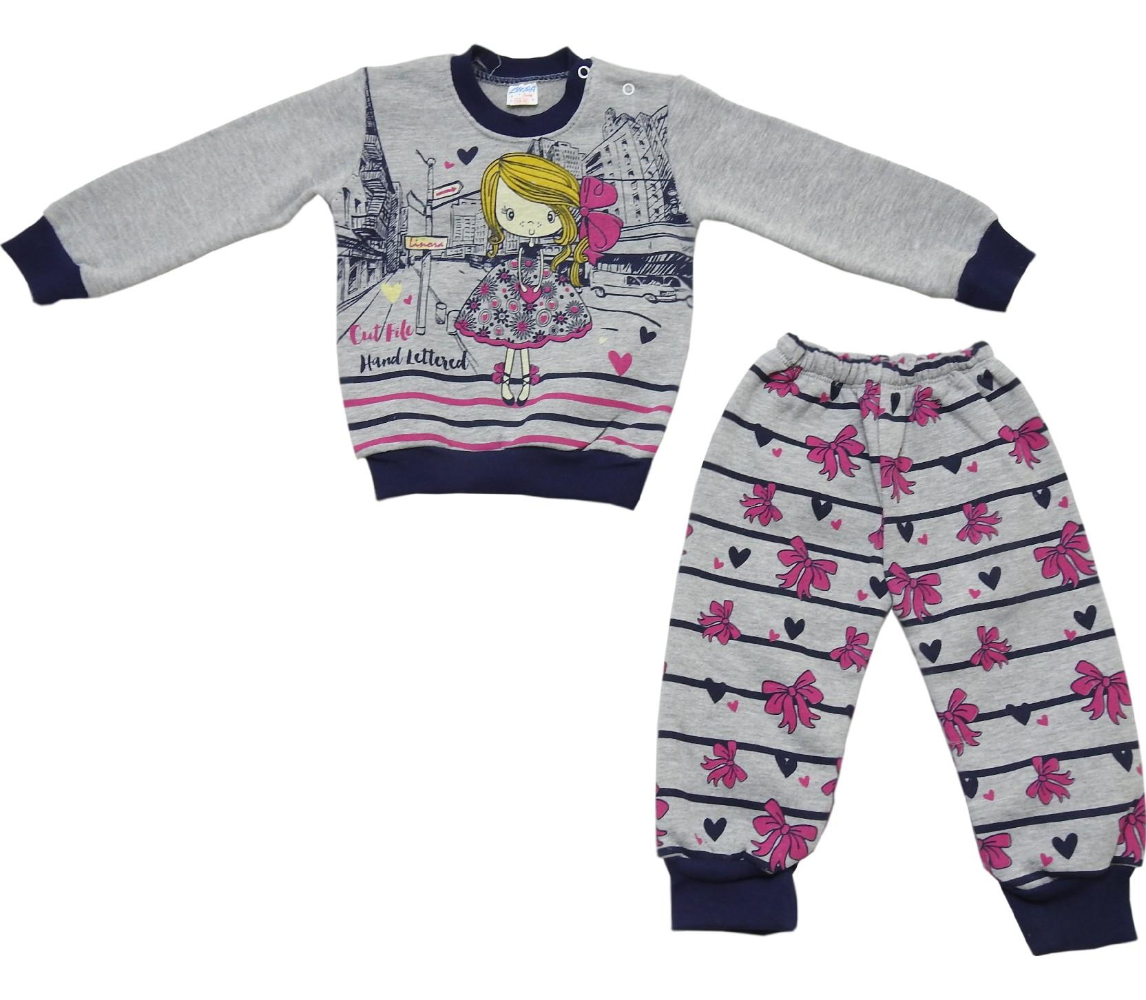 Wholesale girl print sweatshirt and trouser double set tracksuit for girl (1-2-3 age)