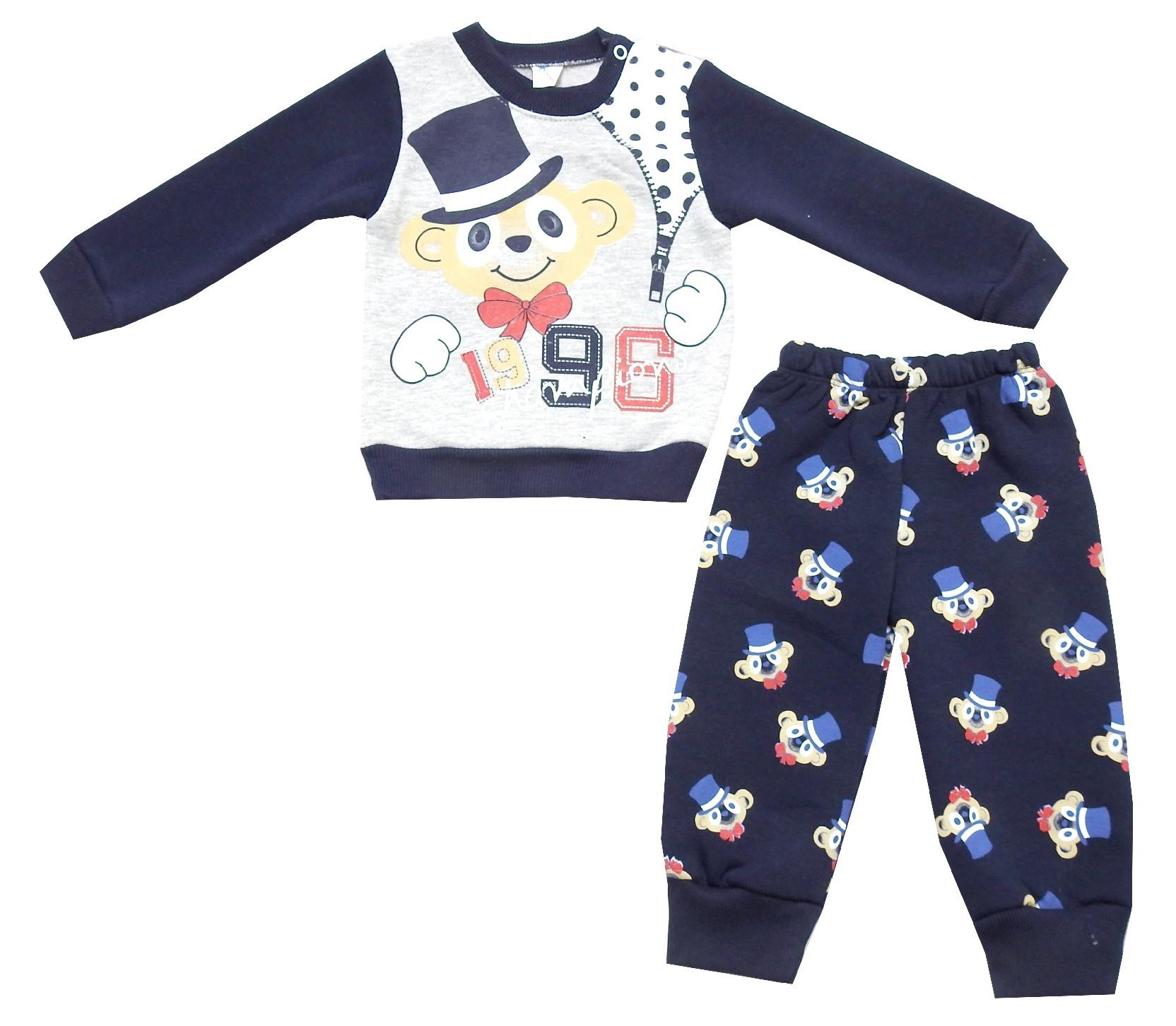 Wholesale monkey print sweatshirt and trouser double set tracksuit for boy (1-2-3 age)