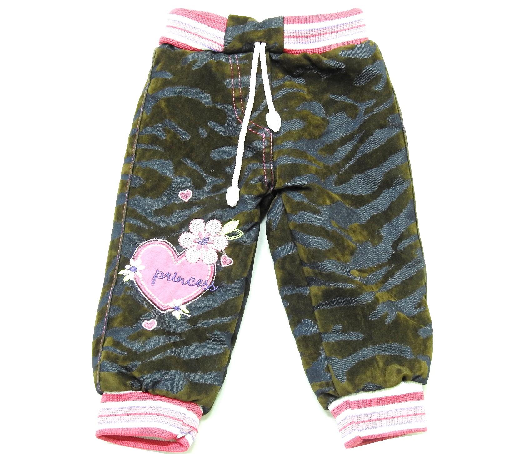 Wholesale faux shearling heart print camouflage embroider pant for girl (1-2-3 age)