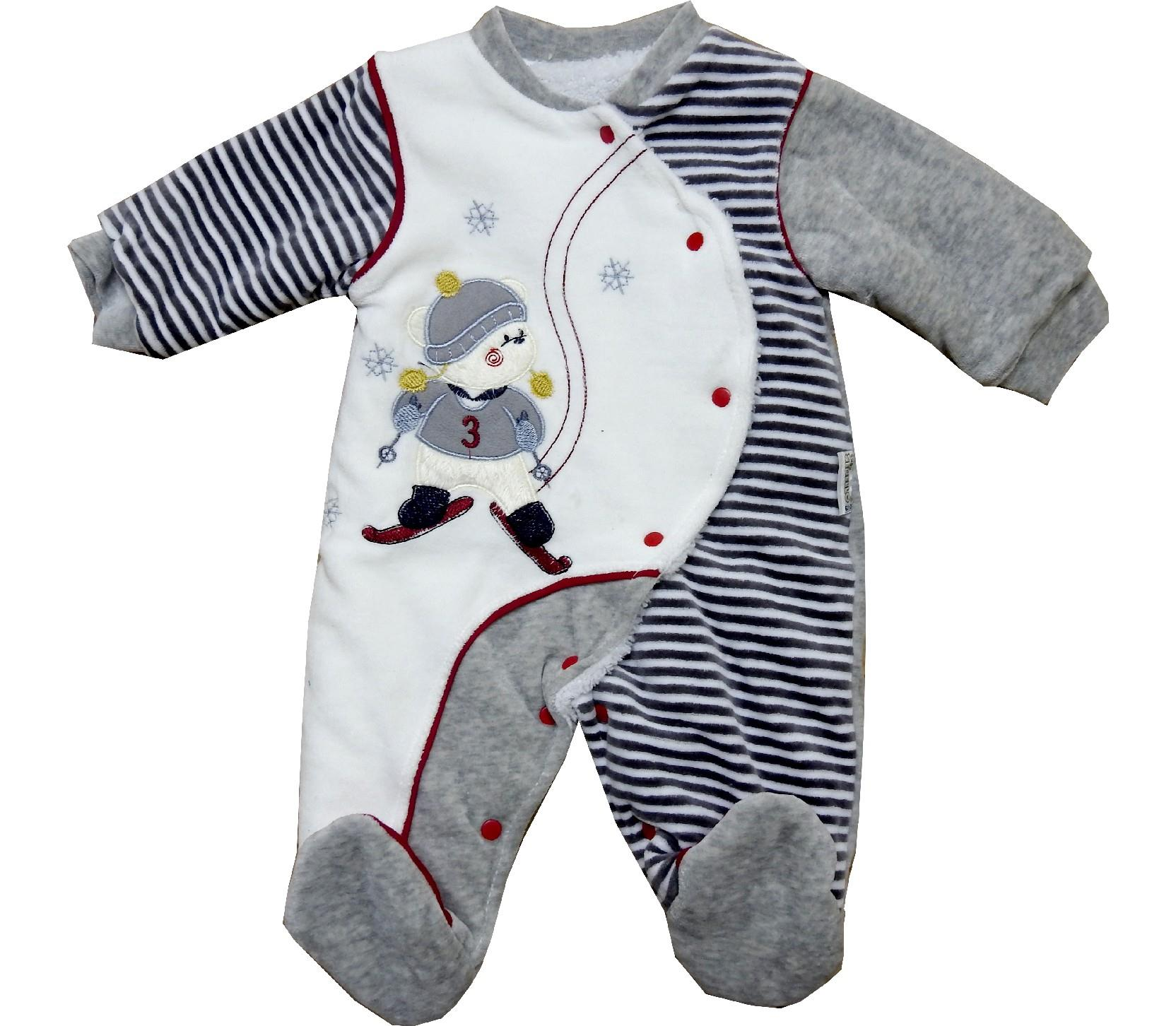Wholesale velvet striped bear print romper for baby boy (3-6-9 month)