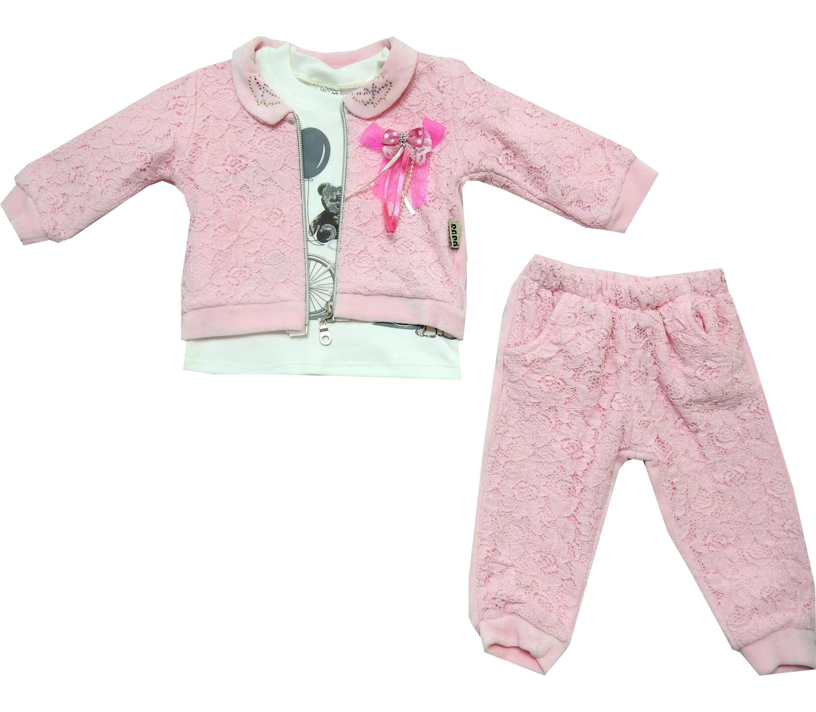 Wholesale guipure design jacket, t-shirt and pant for baby girl (6-9-12 age)