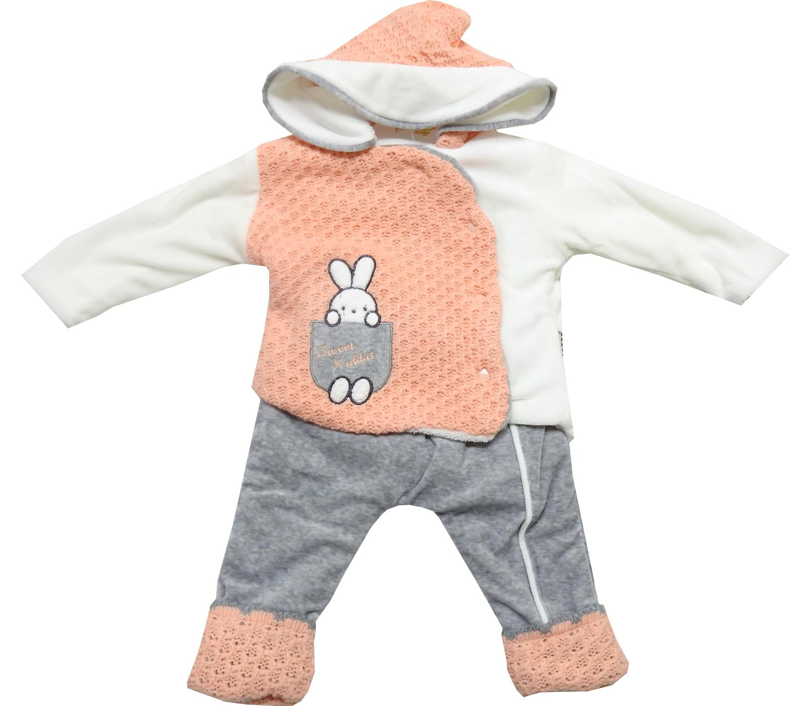 Wholeale sweet rubbish print knitted hoodie romper for baby girl (6-9-12 month)