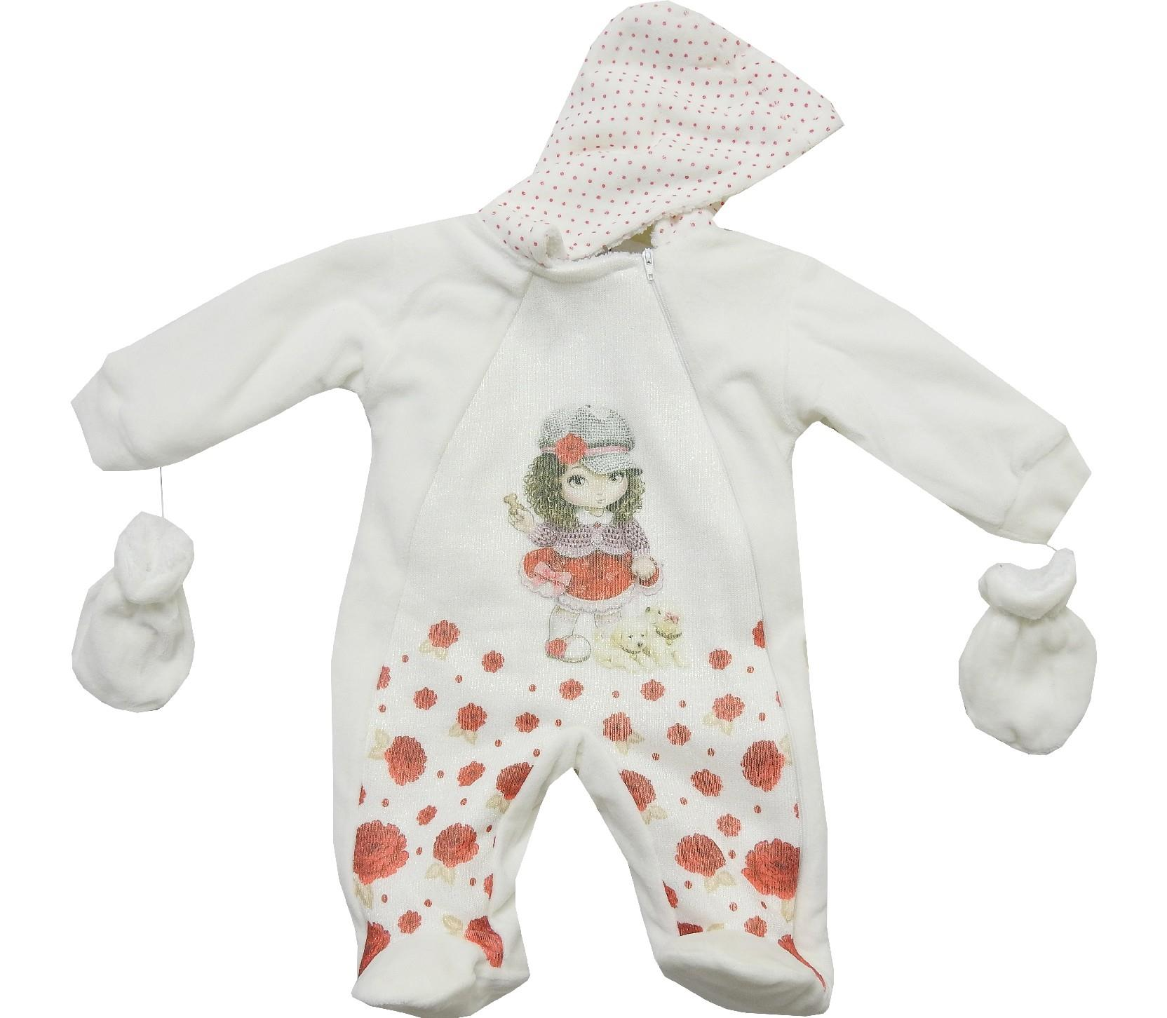 Wholesale hoodie girl print romper for baby girl (3-6-9 month)