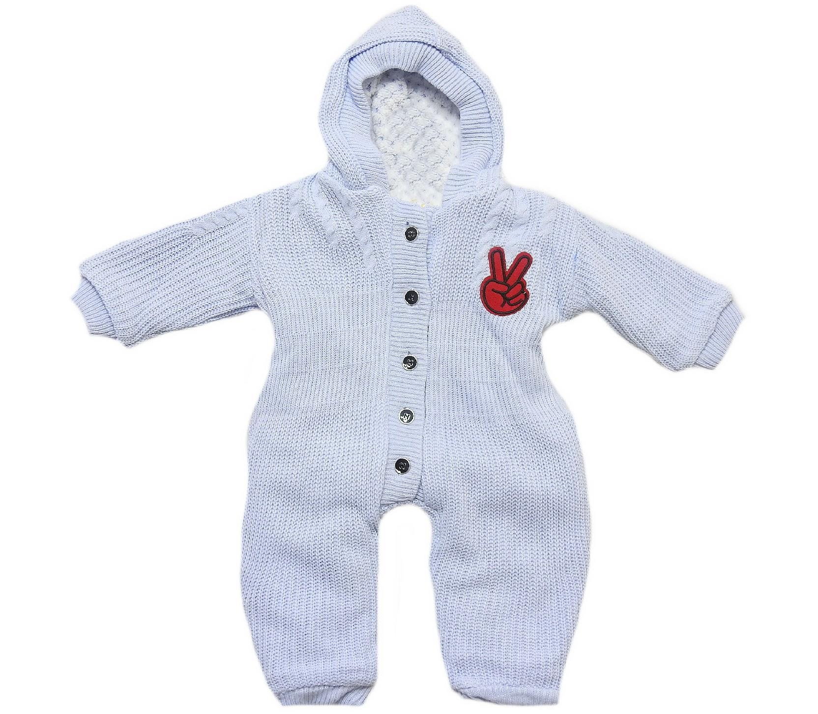 Wholesale hoodie faux shearling knitwear romper for baby (3-6-9 month)