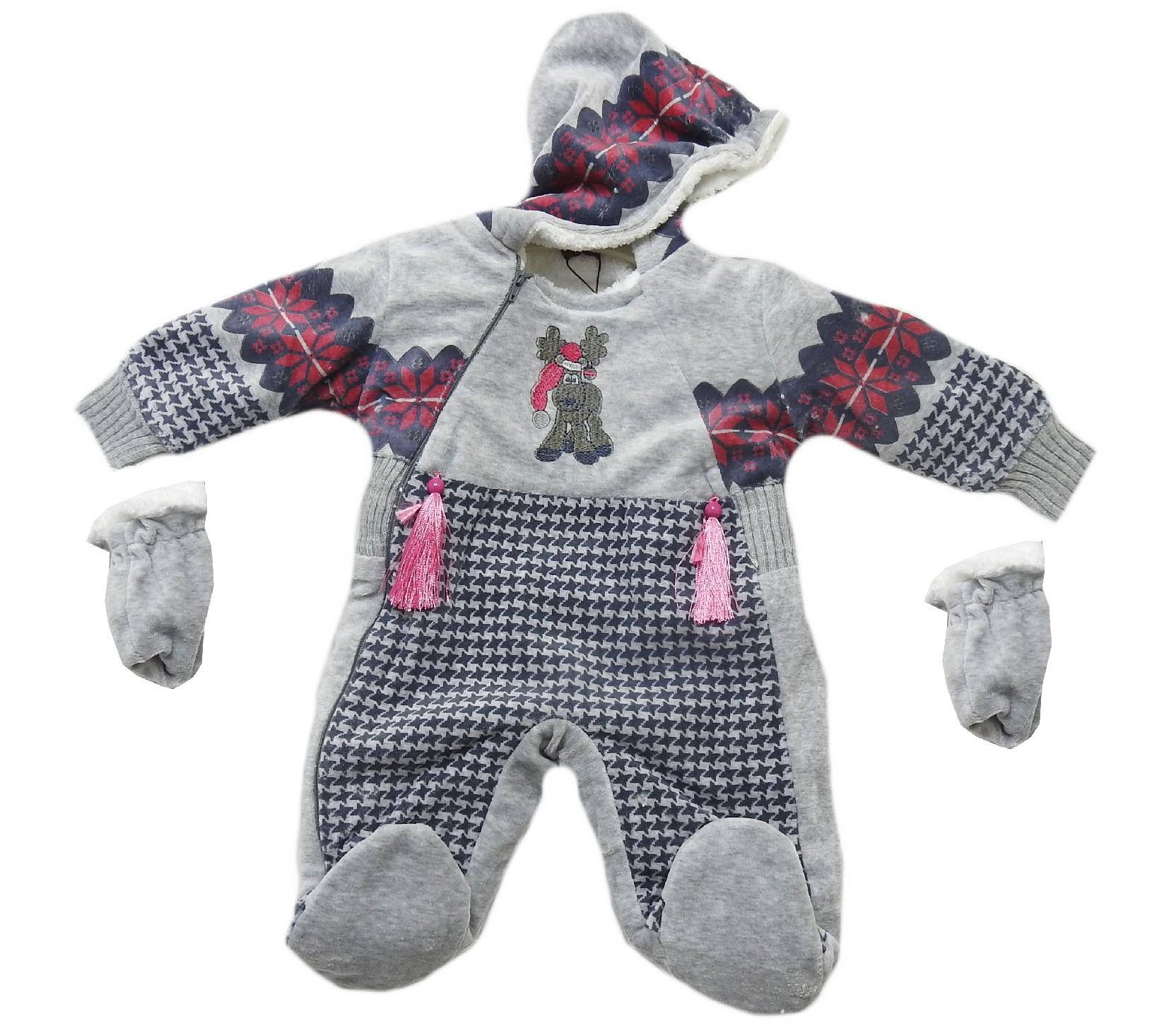 Wholesale deer print embroidery design hoodie romper with gloves for baby (3-6-9 month)