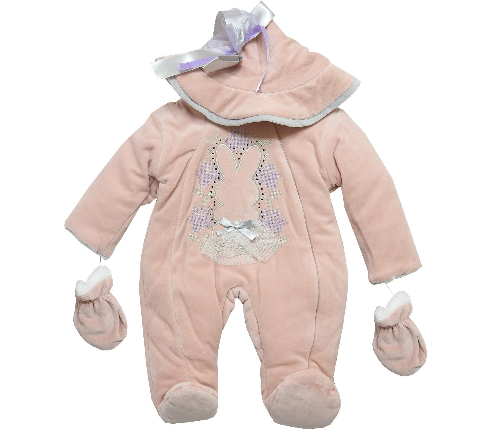 Wholesale bunny print hooded design romper & gloves for baby girl (3-6-9 month)