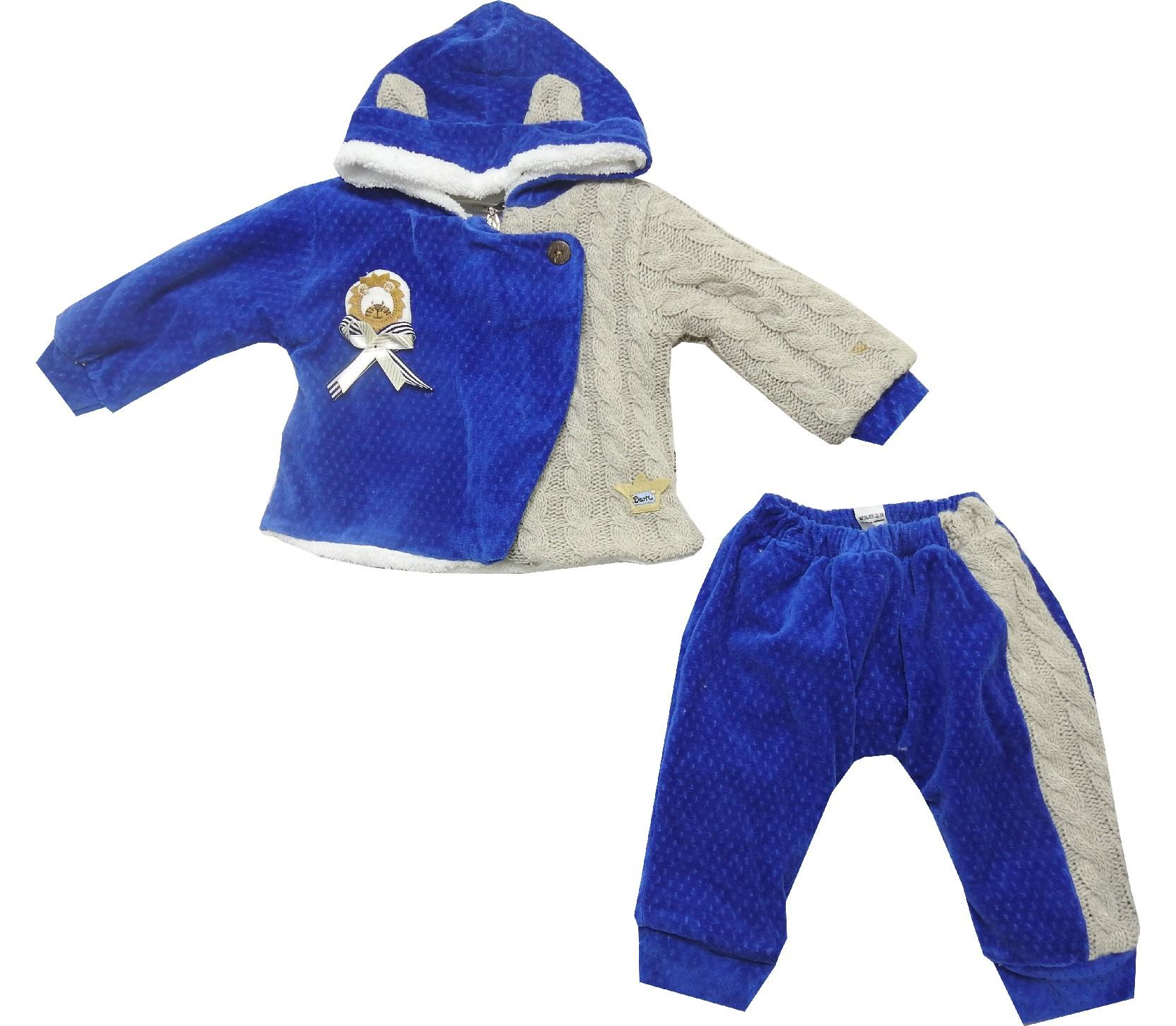 Wholesale hooded faux shearling velvet and knitted design jacket, trouser double set suit for baby girl (6-9-12 month)